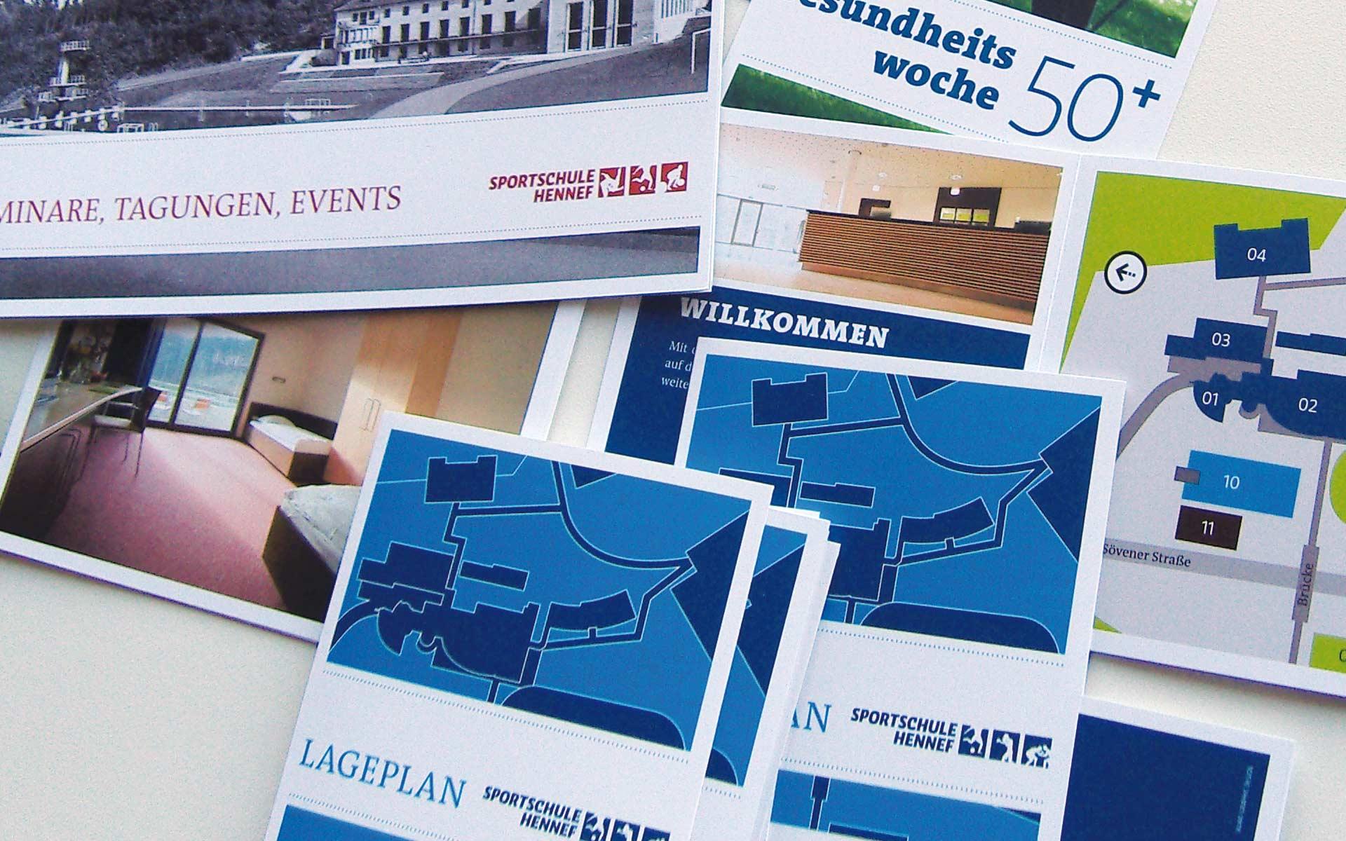 Sportschule Hennef Kommunikationsmittel, Corporate Communication, Lageplan und Broschüre