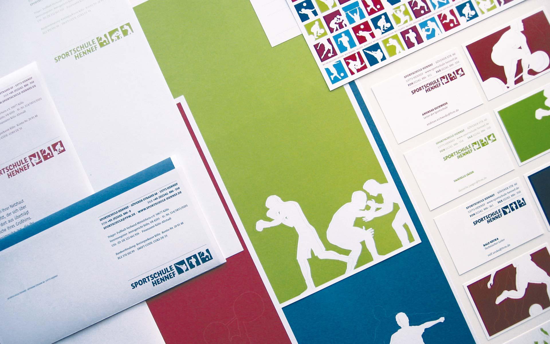 Sportschule Hennef Corporate Design,  Geschäftstausstattung mit Briefbogen und Visitenkarten