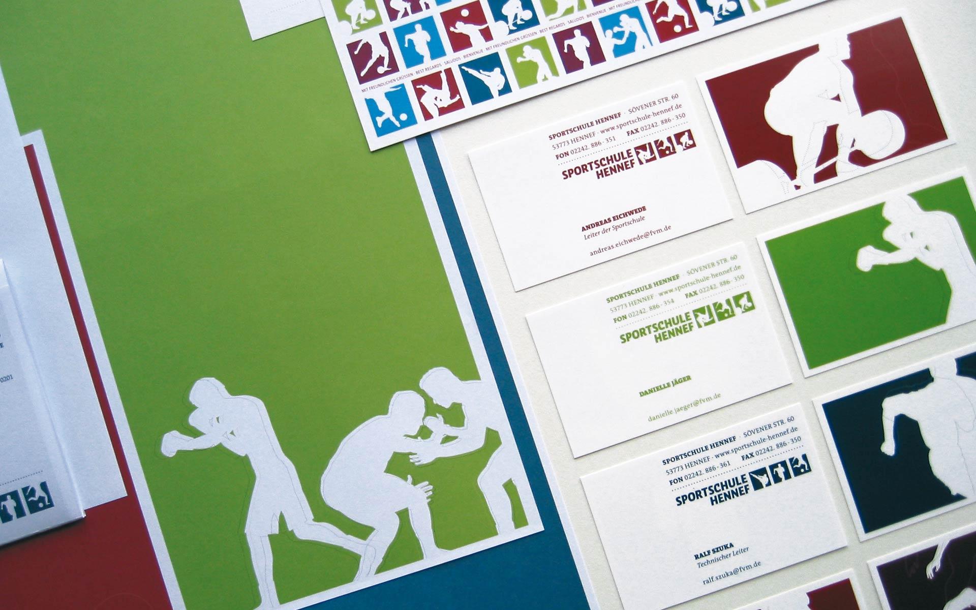 Sportschule Hennef Corporate Design, Geschäftsausstattung, Visitenkarten und Briefbogen
