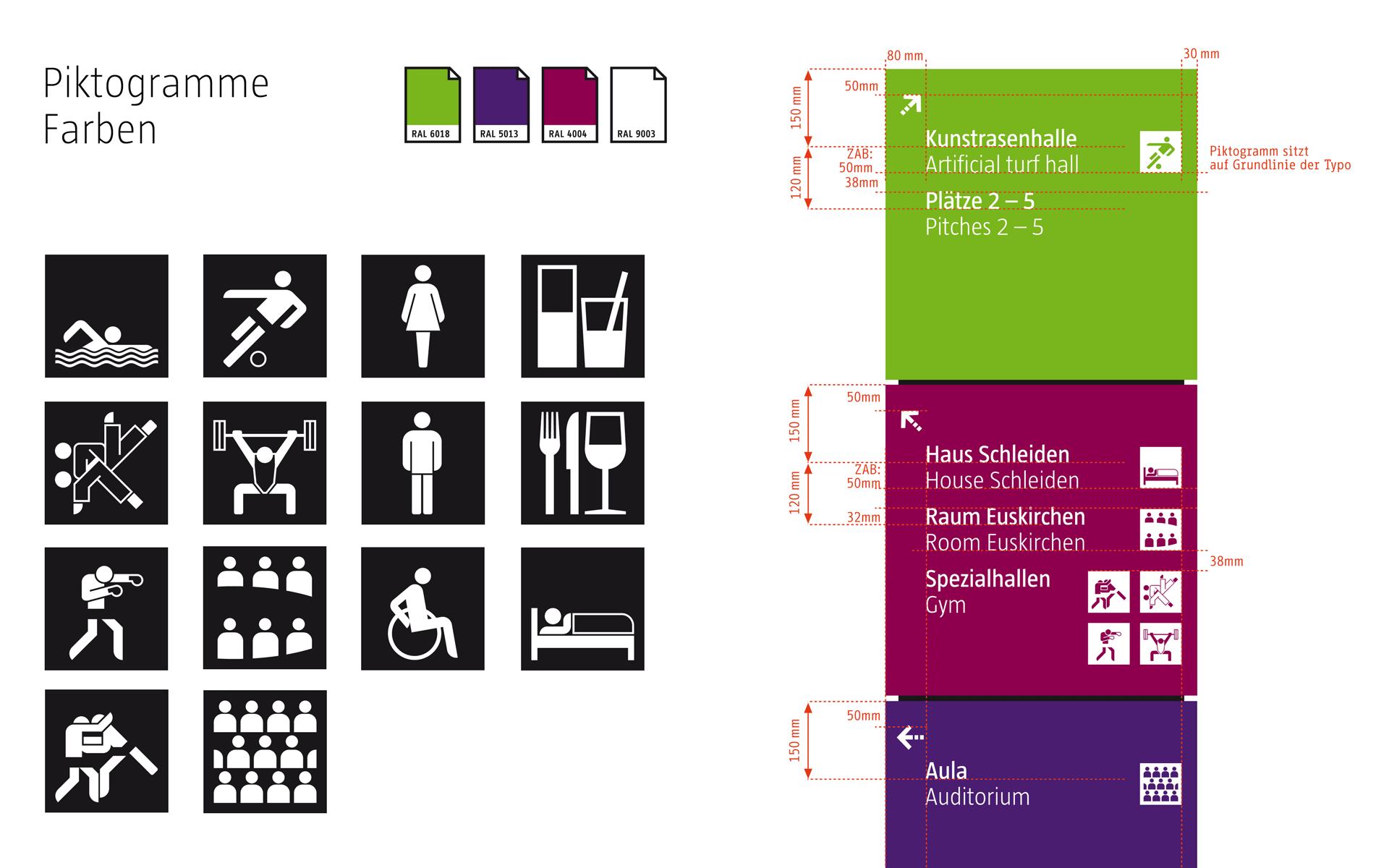 Sportschule-Hennef Orientierungssystem, Piktogramme, Typografie und Vermassung