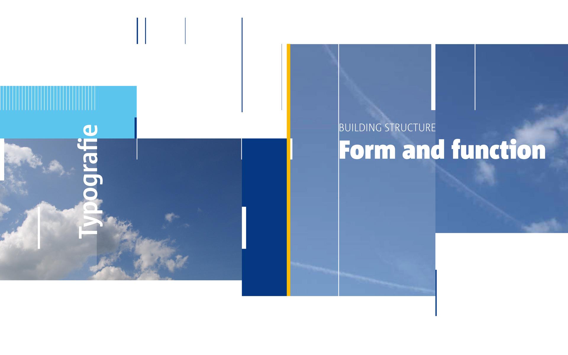 EASA Corporate Design, Gestaltungselement, vertikale Linien und Flächentektonik