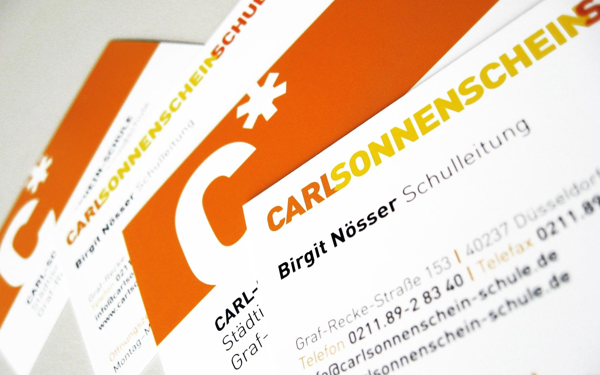 Carl Sonnenschein Schule Corporate Design, Visitenkarten