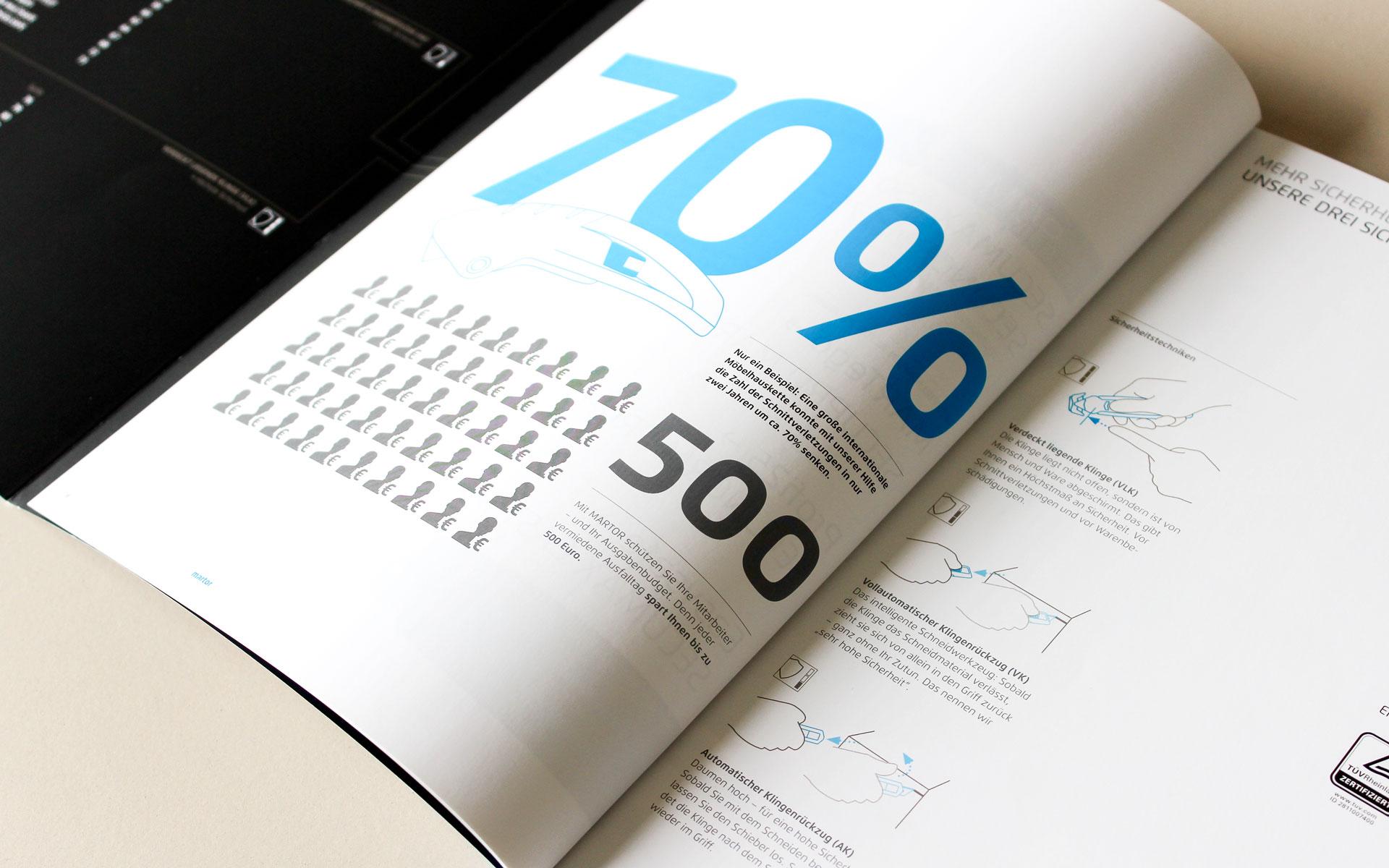 MARTOR Broschürenkonzept, Sicherheitsmesser Katalog, Doppelseite Typografie und Infografiken