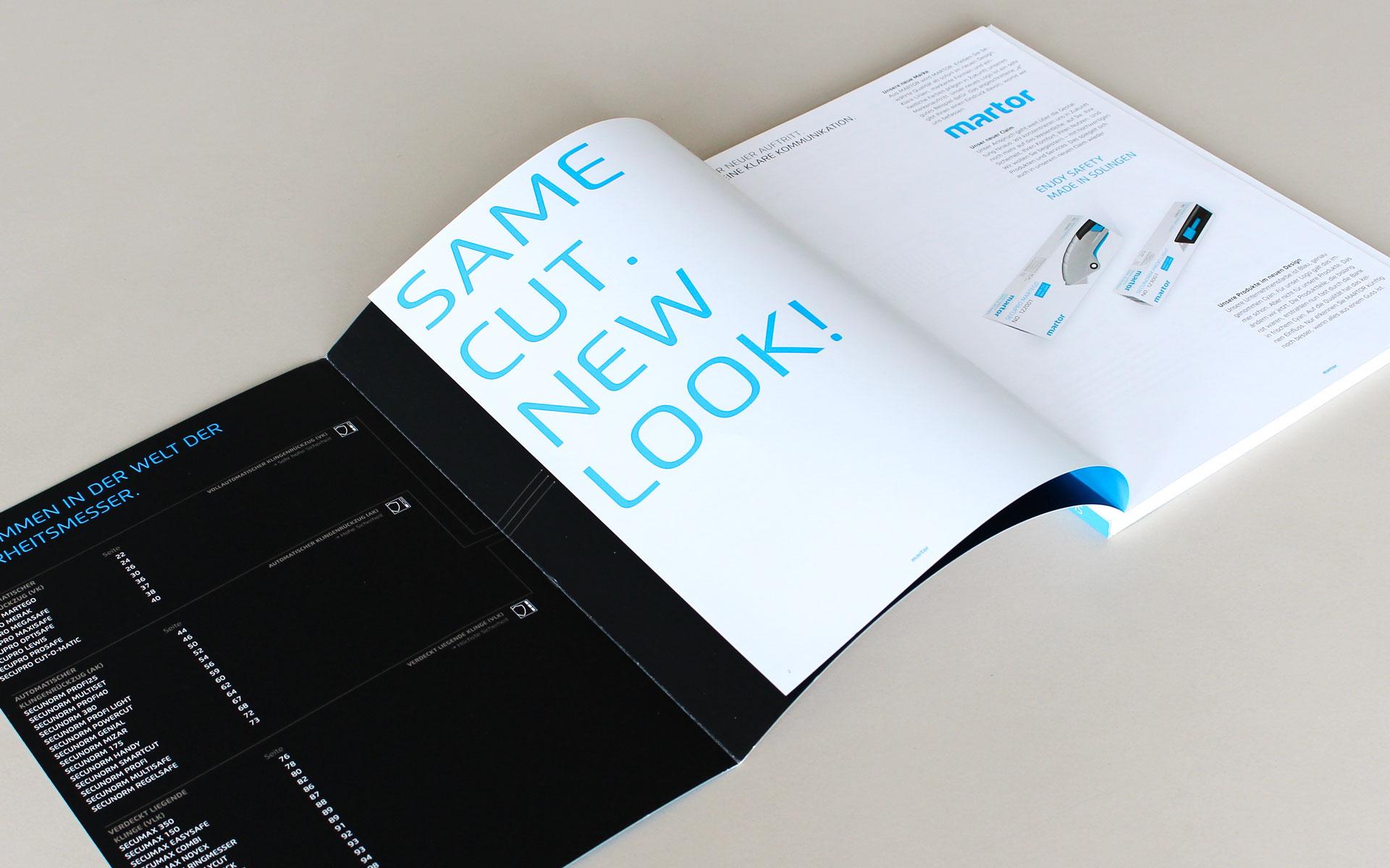 MARTOR Broschürenkonzept, Sicherheitsmesser Katalog, ausgeklappter Titel und Index