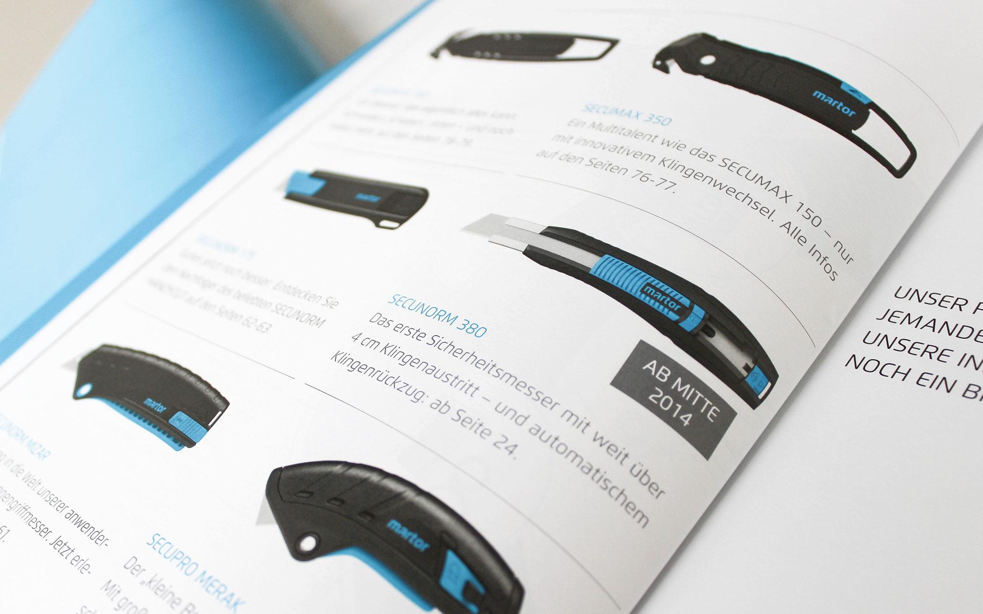 MARTOR Broschürenkonzept, Sicherheitsmesser Katalog, Produktübersicht