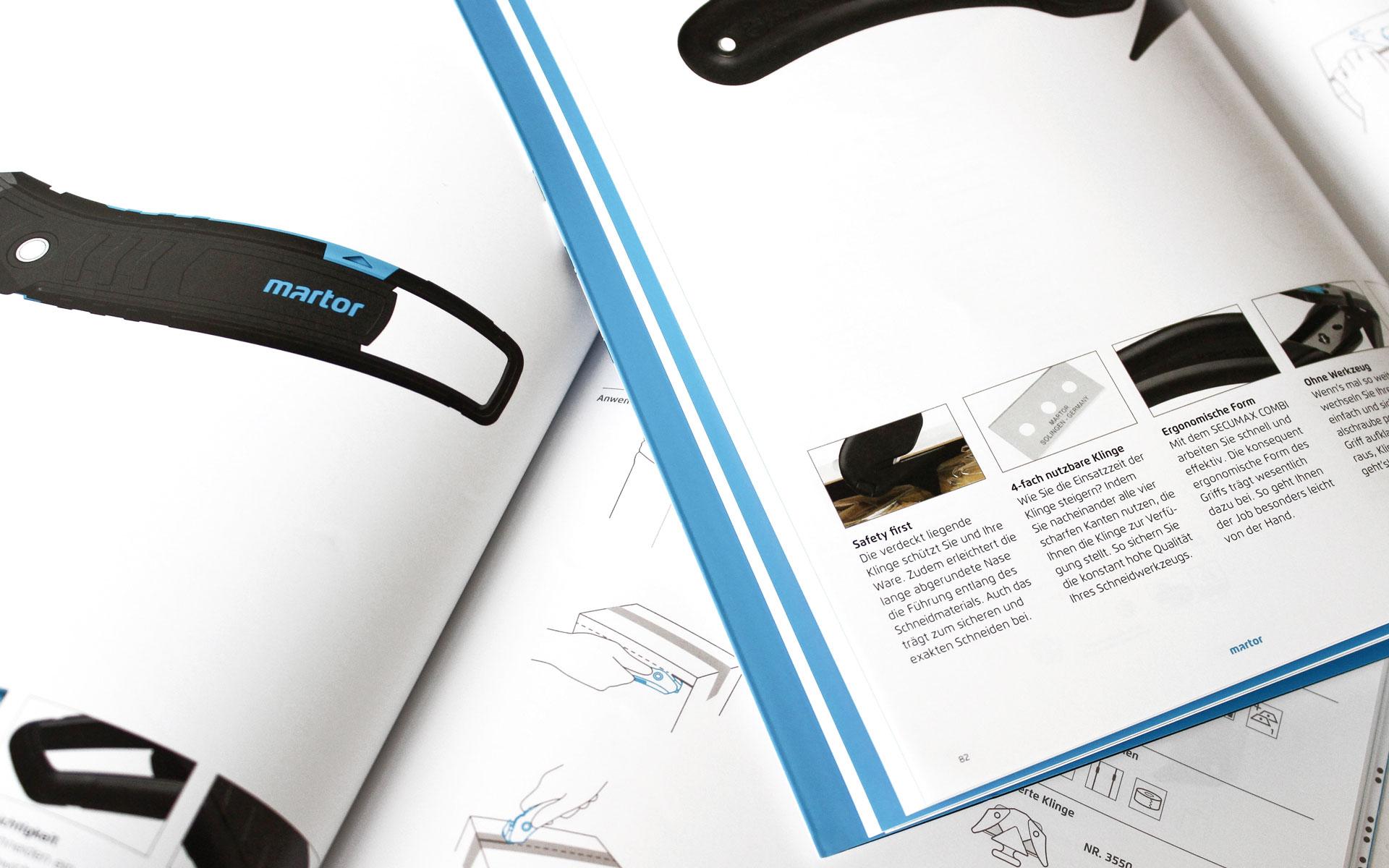 MARTOR Broschürenkonzept, Sicherheitsmesser Katalog, Produktseite Detail