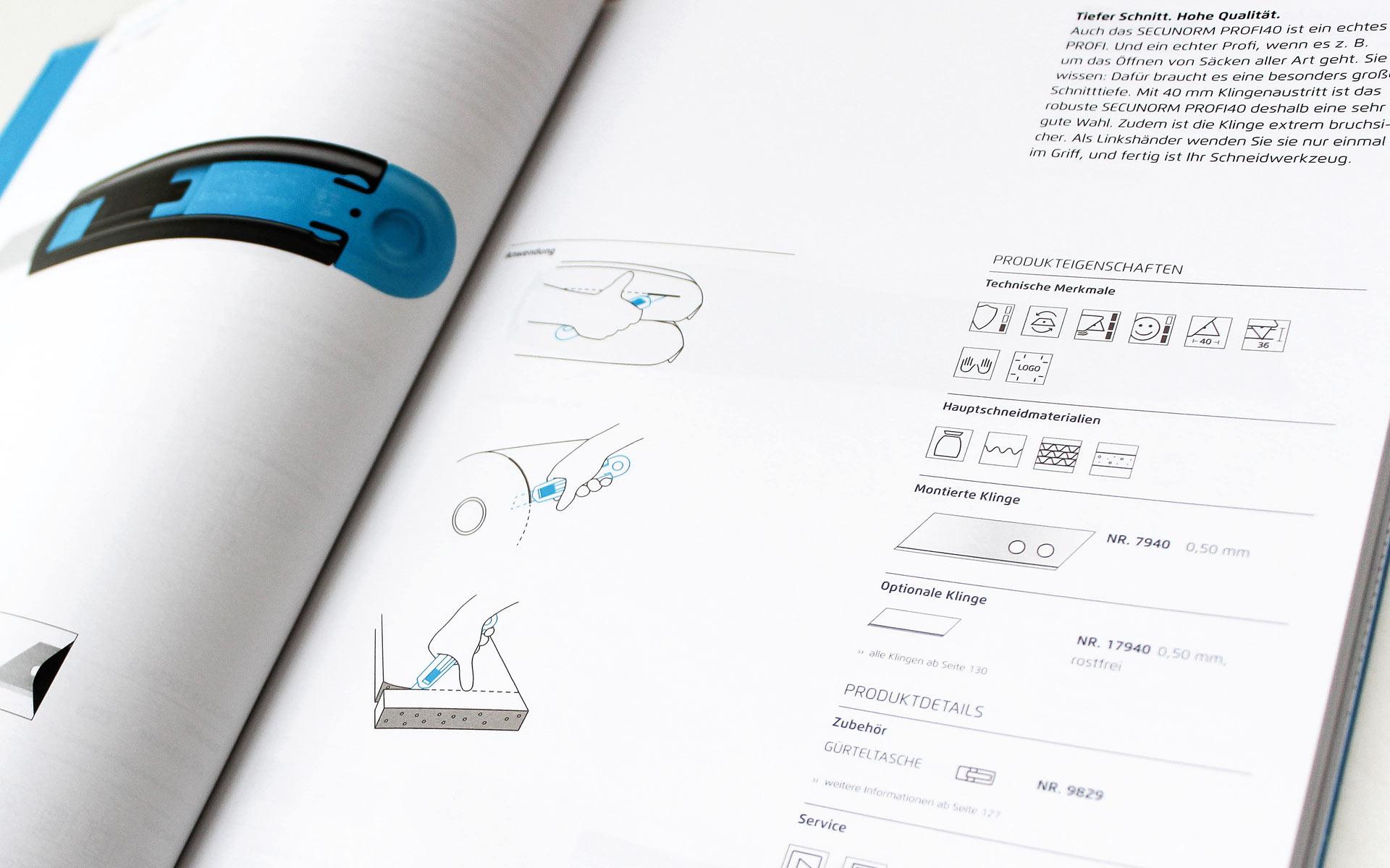 MARTOR Broschürenkonzept, Sicherheitsmesser Katalog, Produktseite Anwendungsillustrationen