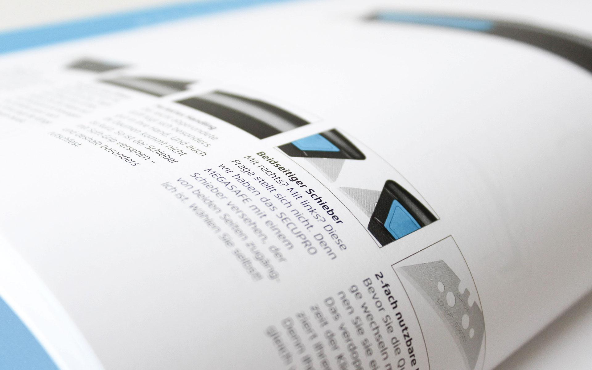 MARTOR Broschürenkonzept, Sicherheitsmesser Katalog, Typografie auf der Produktseite Typografie