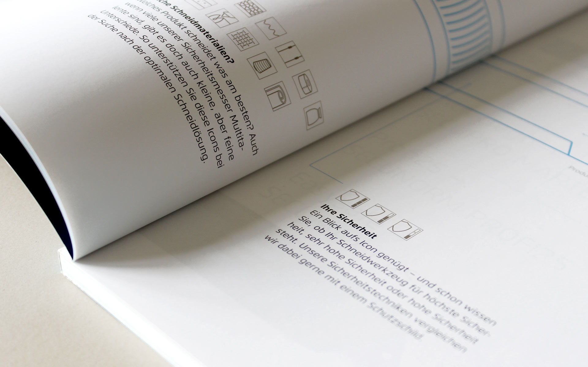 MARTOR Broschürenkonzept, Sicherheitsmesser Katalog, Piktogramme