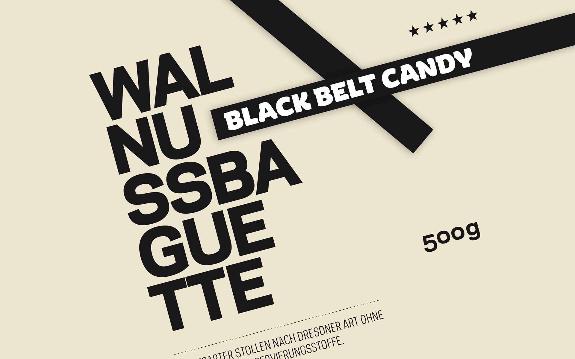 Black Belt Bakery Corporate Design, Gestaltungselemente, Balken, Schrift und Typografie
