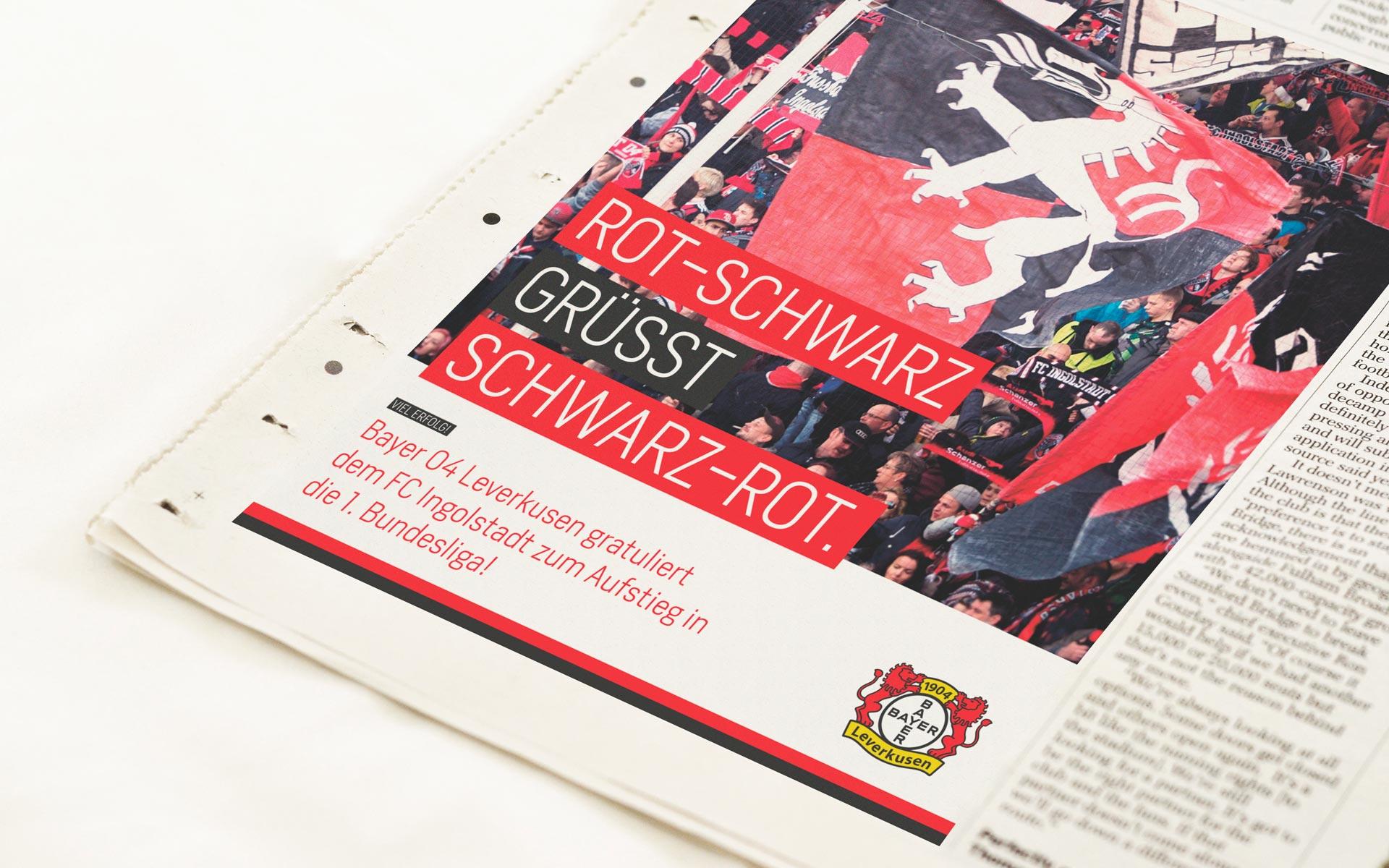 Bayer 04 Leverkusen Corporate Design, Headlinesystematik, Anwendunsgbeispiel Anzeige