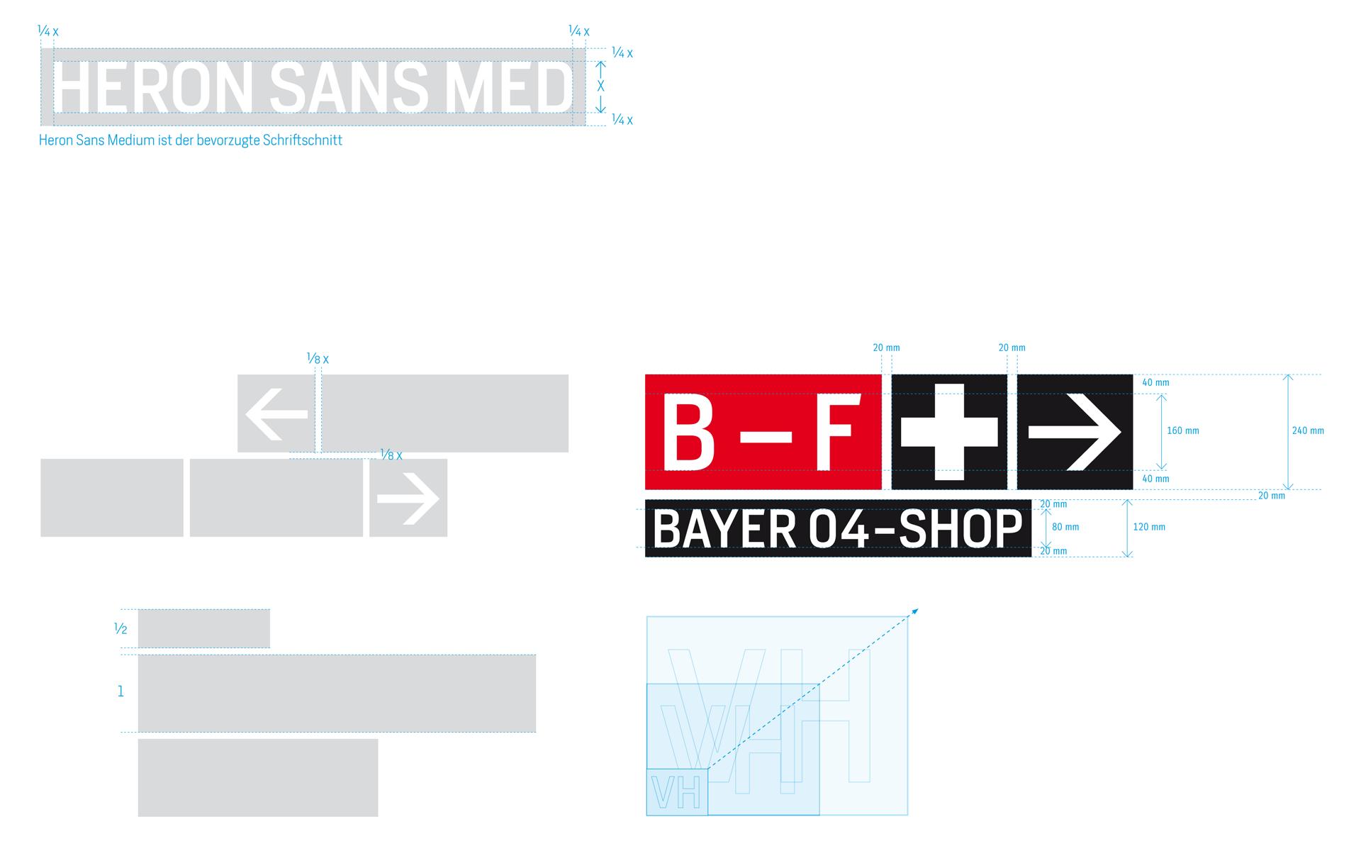 Bayer 04, BayArena Orientierungssystem und Branding, typografisches Modulsystem