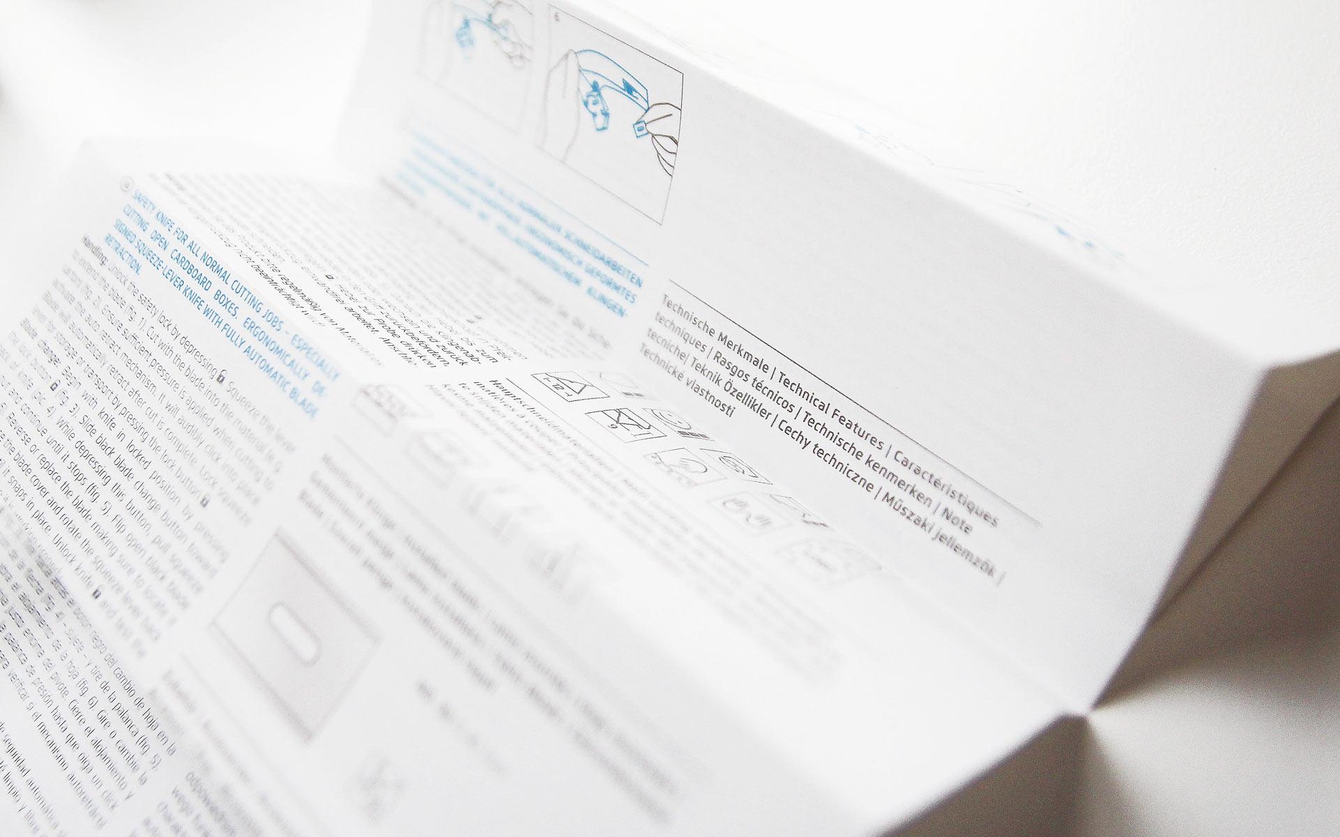 Martor Verpackungsgestaltung, Gebrauchsanweisung, Typografie