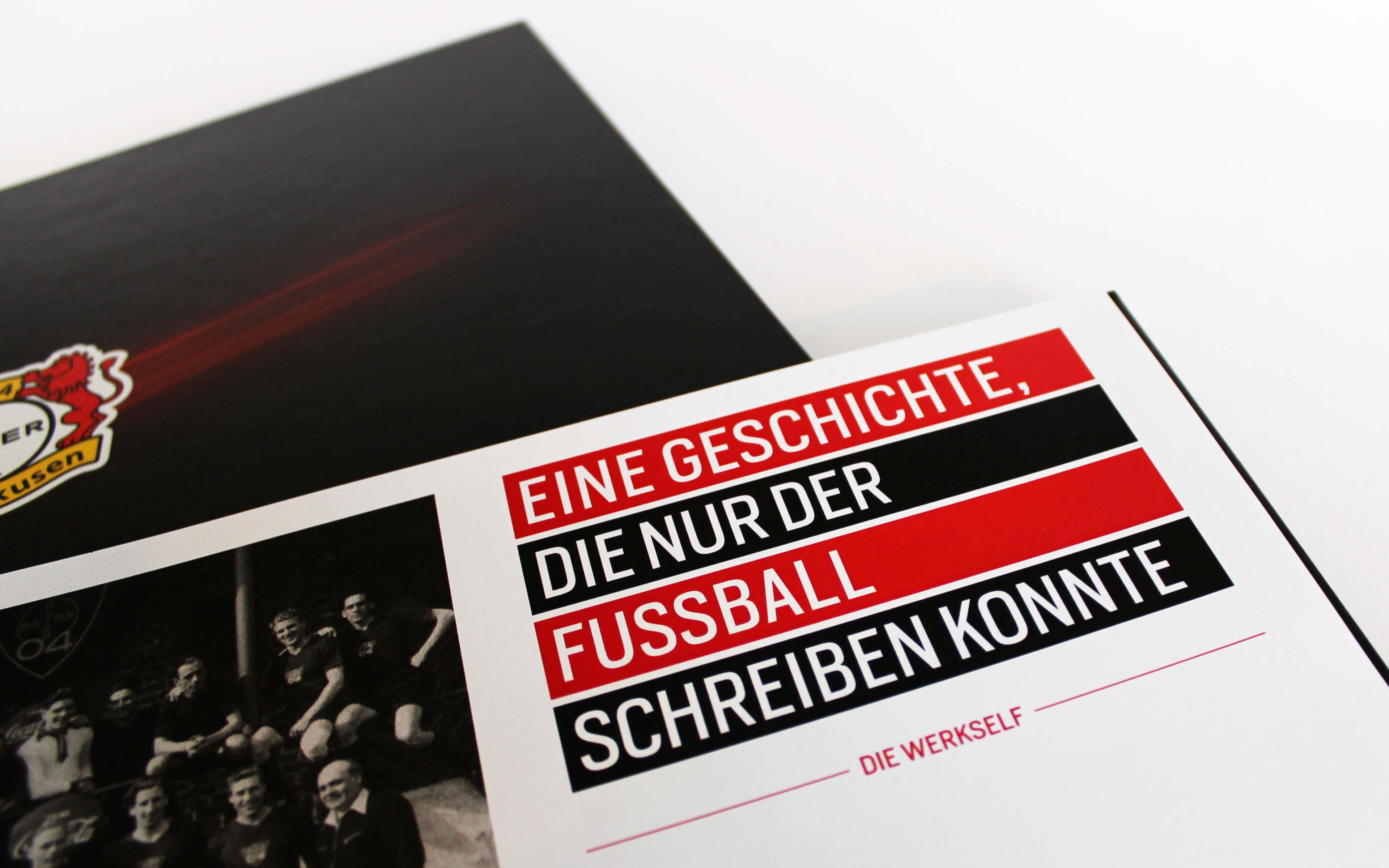 Bayer 04 Leverkusen Vermarktungsbroschüre, Headline-Systematik, Typografie