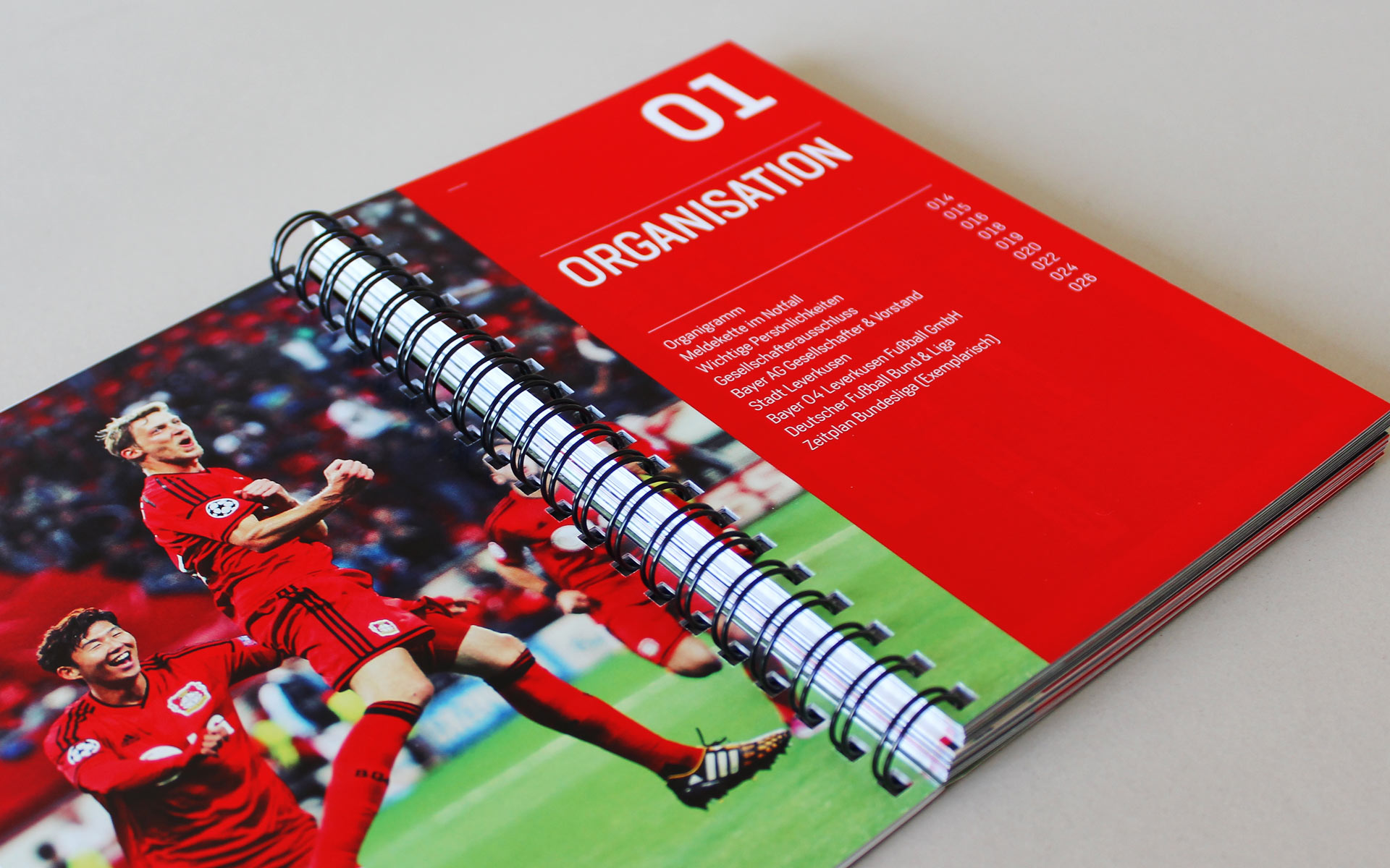 Bayer 04 Markenkommunikation, Corporate Communication, Event Guide, Doppelseite
