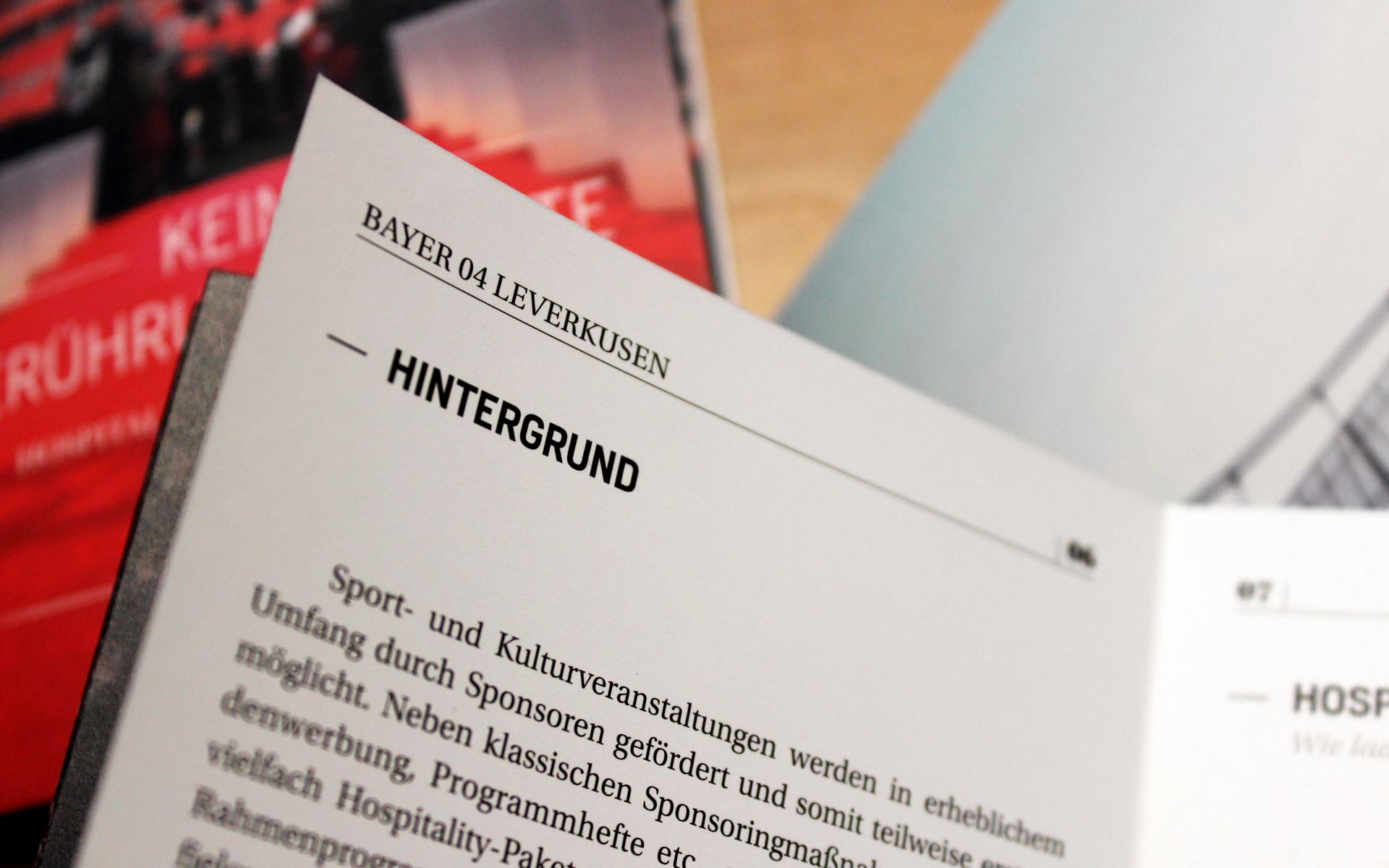 Bayer 04 Markenkommunikation, Corporate Communication, Innenseite Broschüre