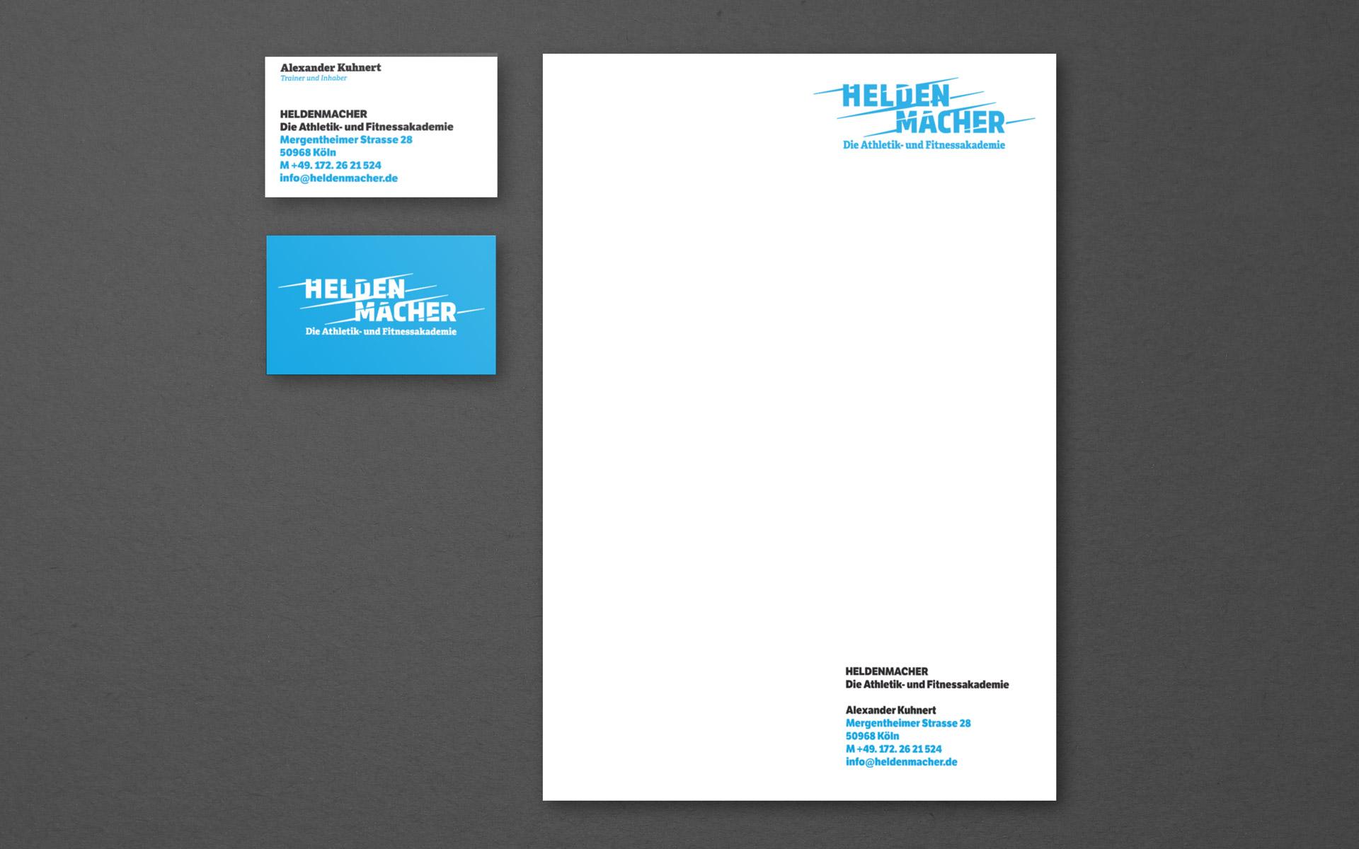 Heldenmacher Corporate Design & Website, Briefbogen und Visitenkarte