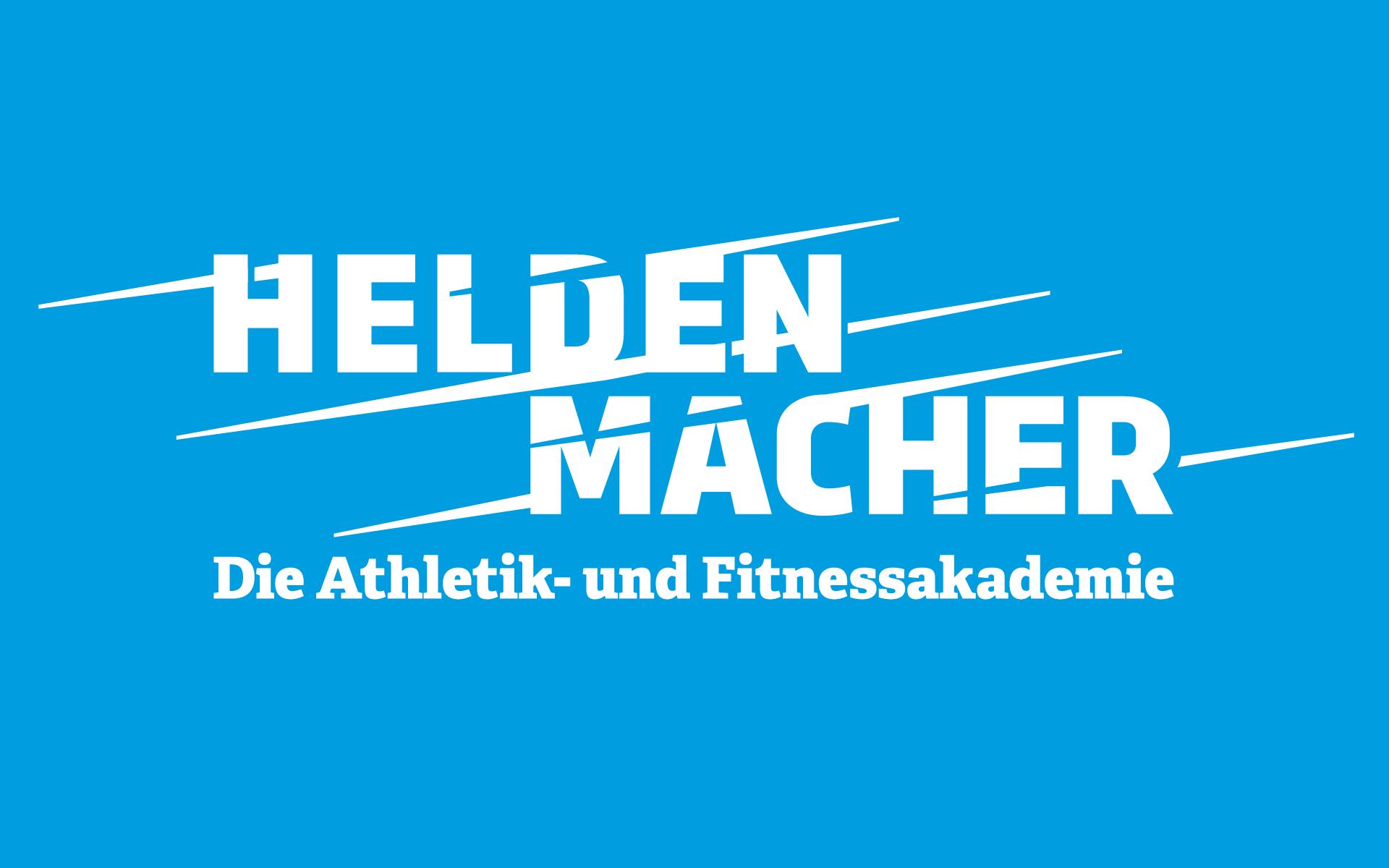 Heldenmacher Corporate Design & Website, Logotype – auf blauem Grund