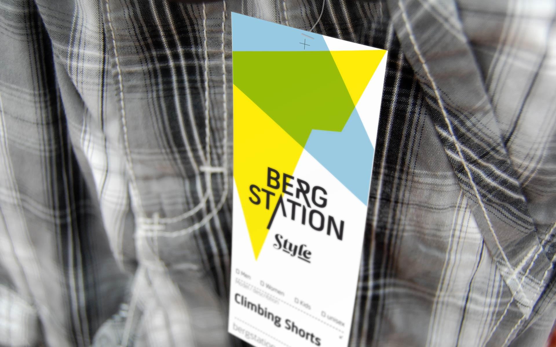 Bergstation Corporate Design, Hangtag, Corporate Fashion, Bekleidungslinie