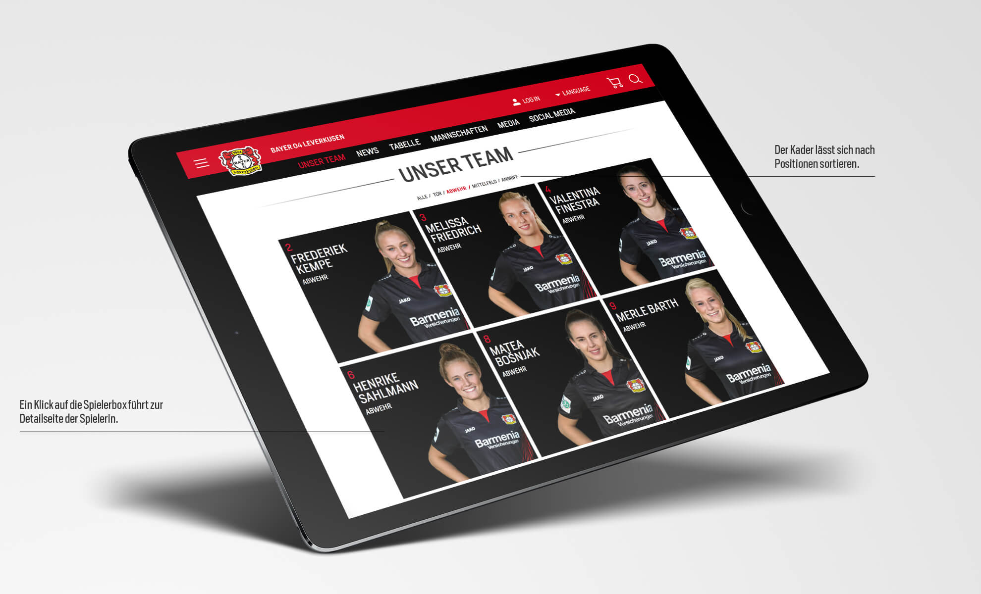 Bayer 04 Leverkusen Website, Relaunch, Redesign, Webdesign, UX, UI, ipad, Filter