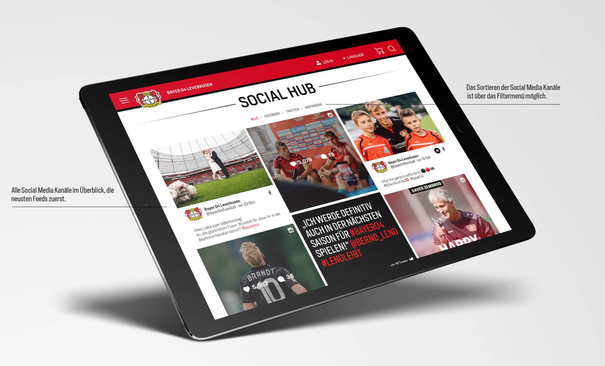 Bayer 04 Leverkusen Website, Relaunch, Redesign, Webdesign, UX, UI, ipad, Social Hub