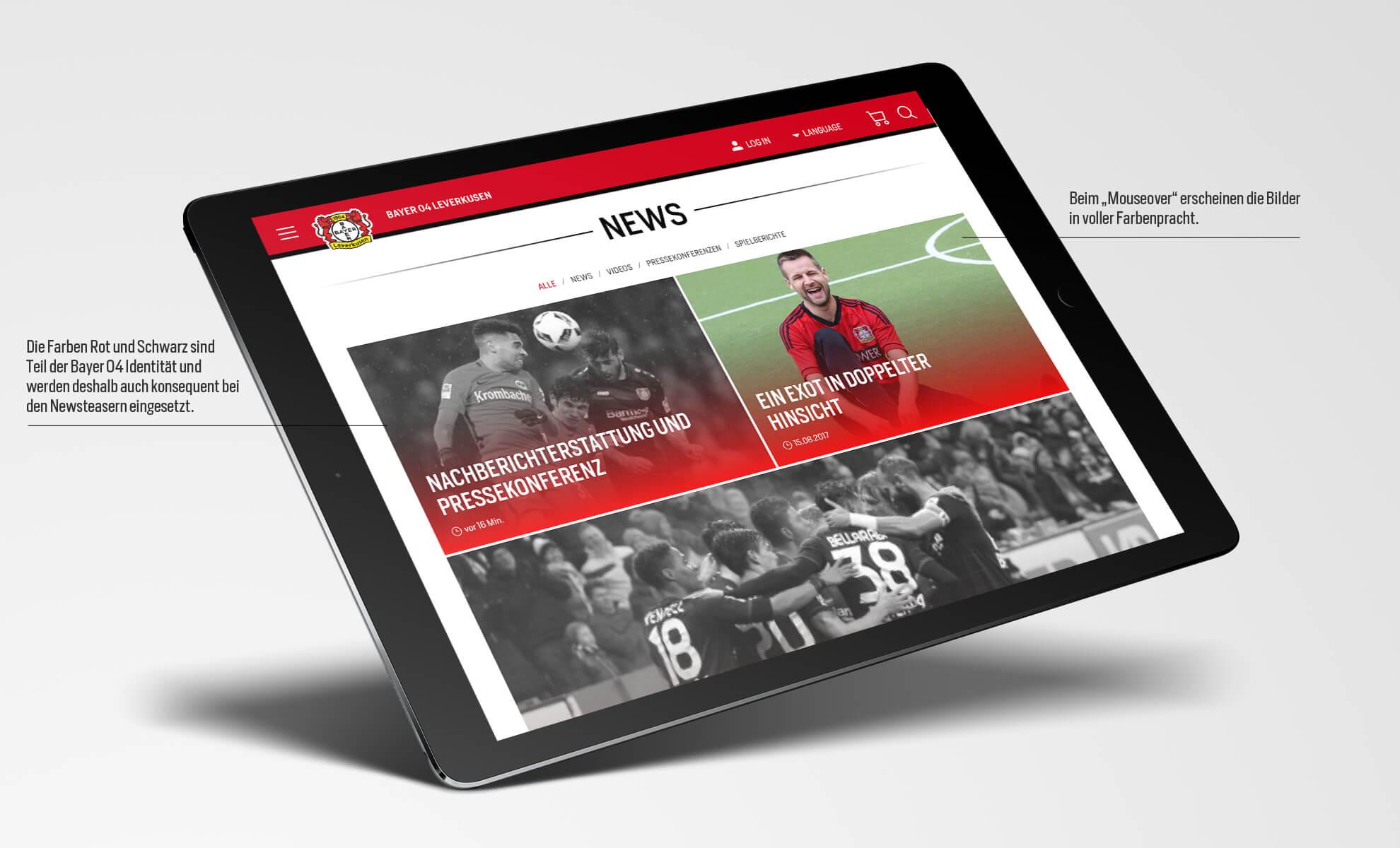 Bayer 04 Leverkusen Website, Relaunch, Redesign, Webdesign, UX, UI, ipad, News Hub