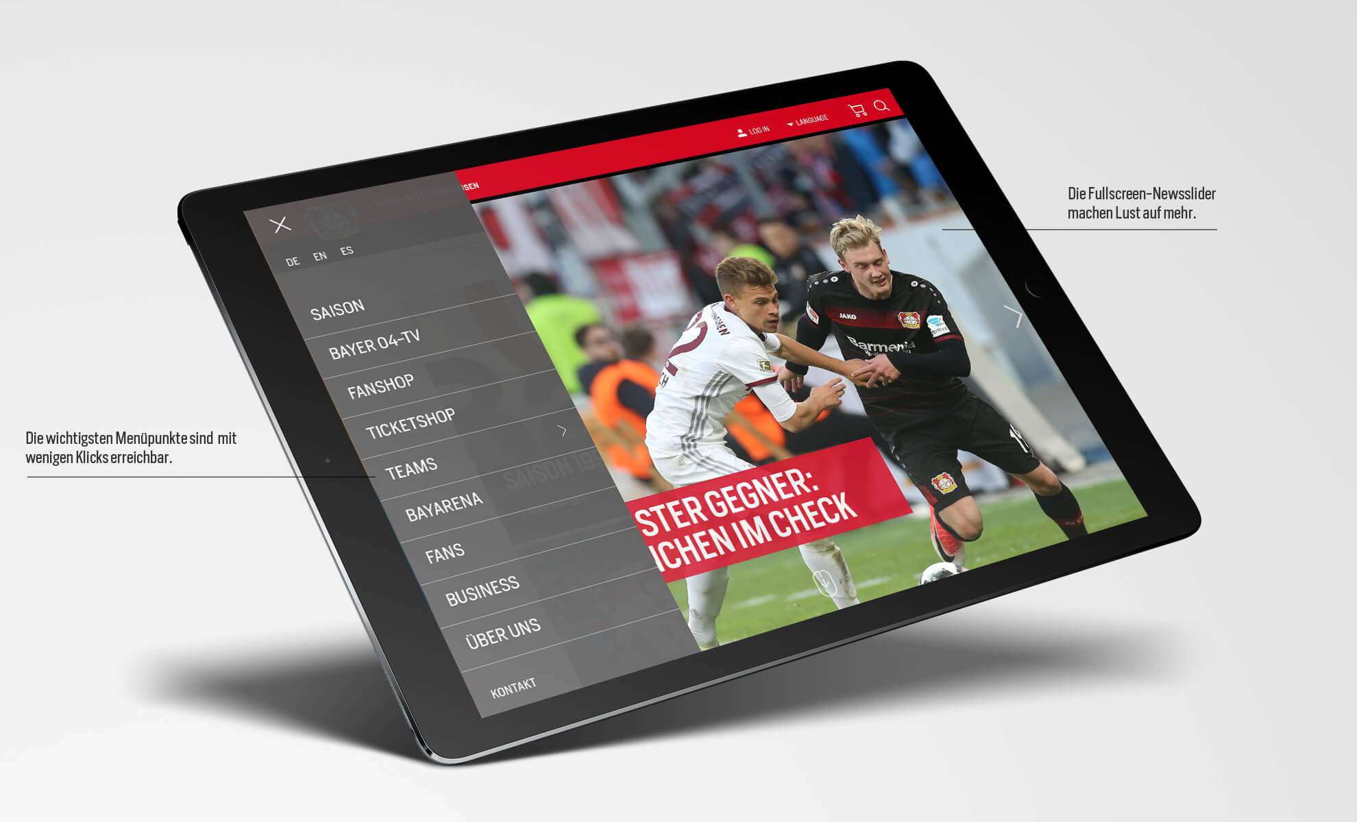 Bayer 04 Leverkusen Website, Relaunch, Redesign, Webdesign, UX, UI, ipad, Hamburgermenü