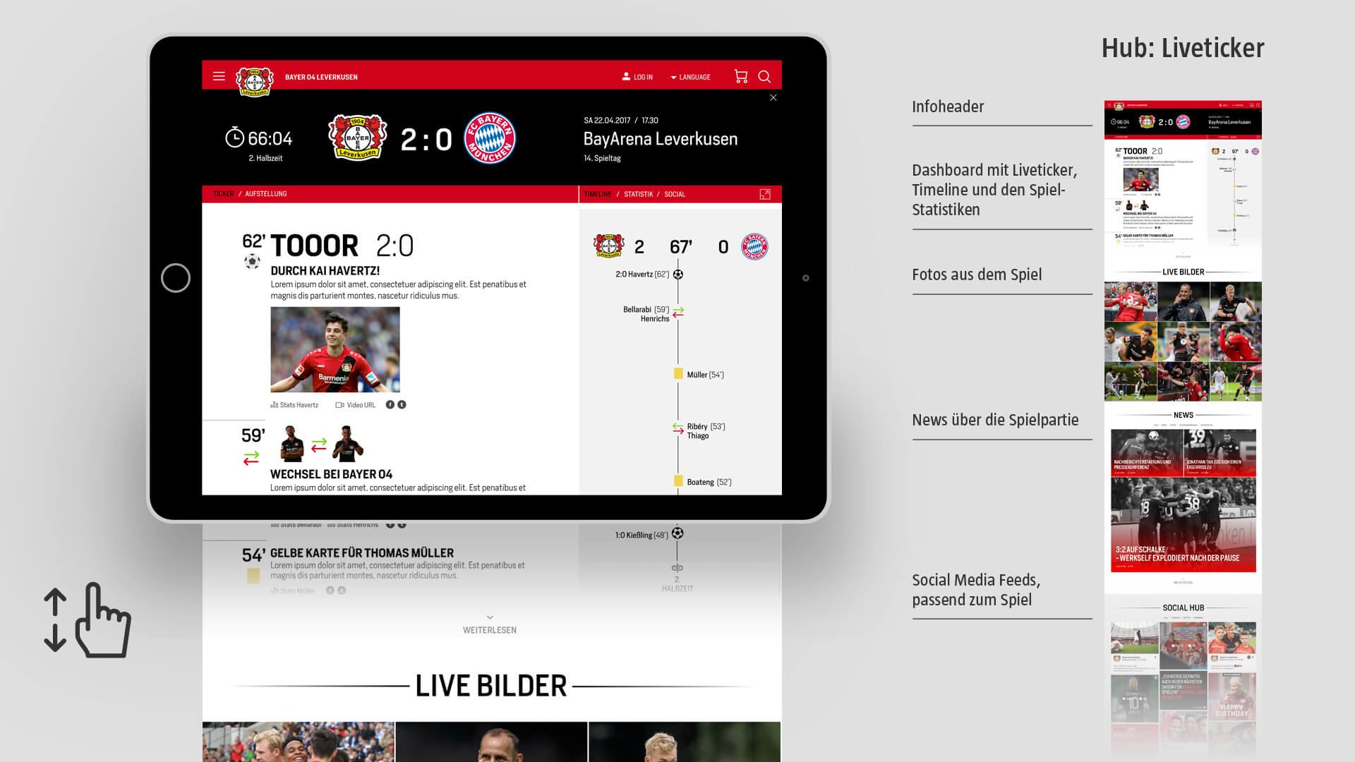 Bayer 04 Website Relaunch, Redesign, Liveticker, Webdesign, UX, UI