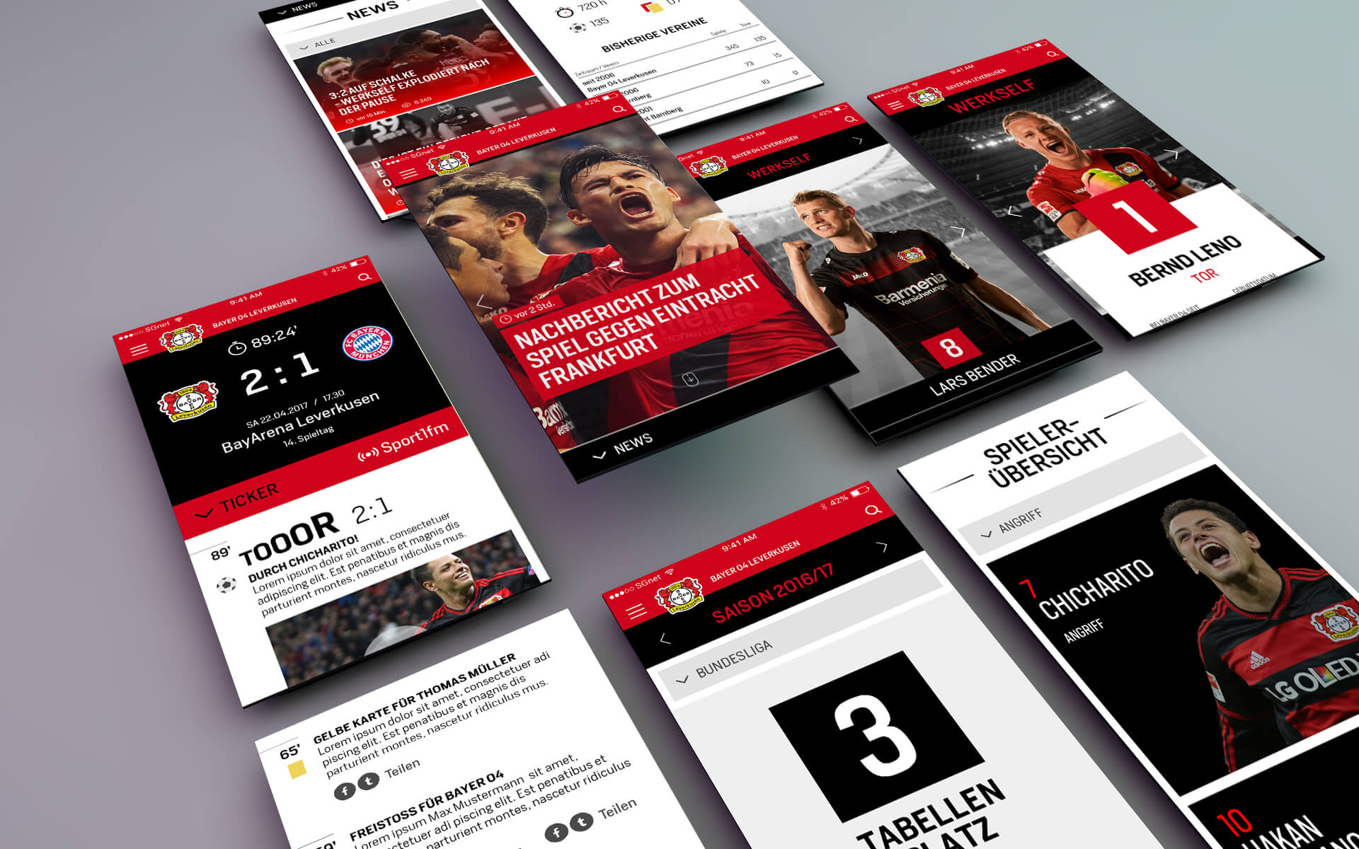 Bayer 04 Leverkusen Website, Relaunch, Redesign, Webdesign, UX, UI, mobile Screen views