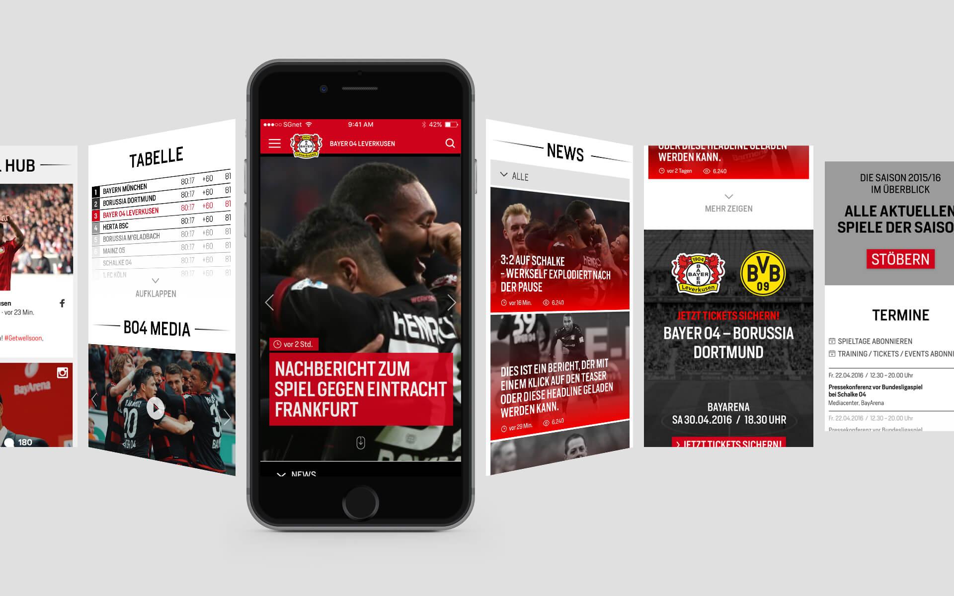 Bayer 04 Leverkusen Website Relaunch, Redesign, Webdesign, UX, UI, App, mobile device