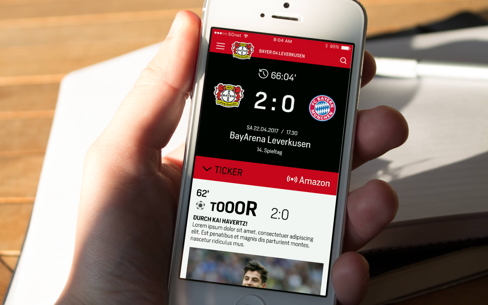 Bayer 04 Website Relaunch, responsives Redesign, Webdesign, UX, UI, mobile View