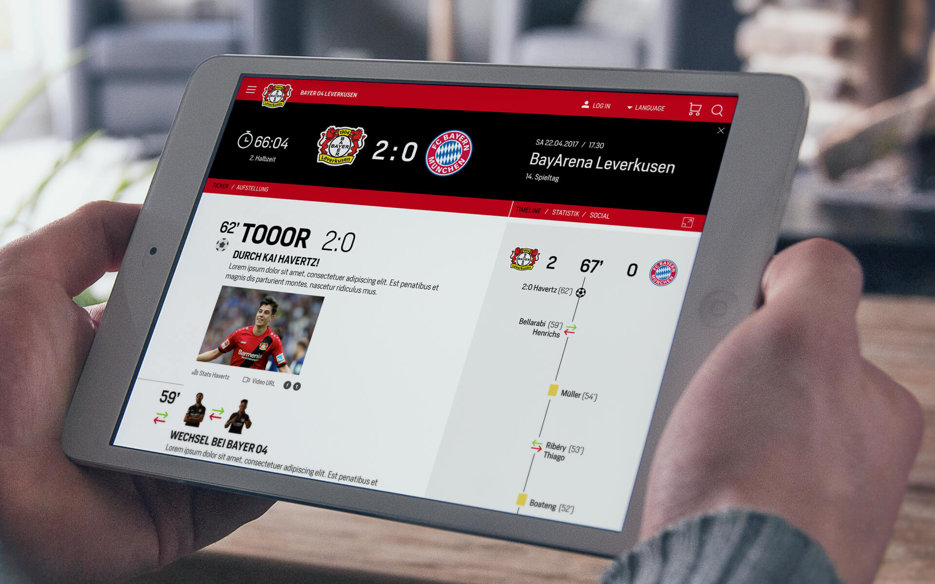 Bayer 04 Website Relaunch, responsives Redesign, Liveticker, Webdesign, UX, UI, Tablet View