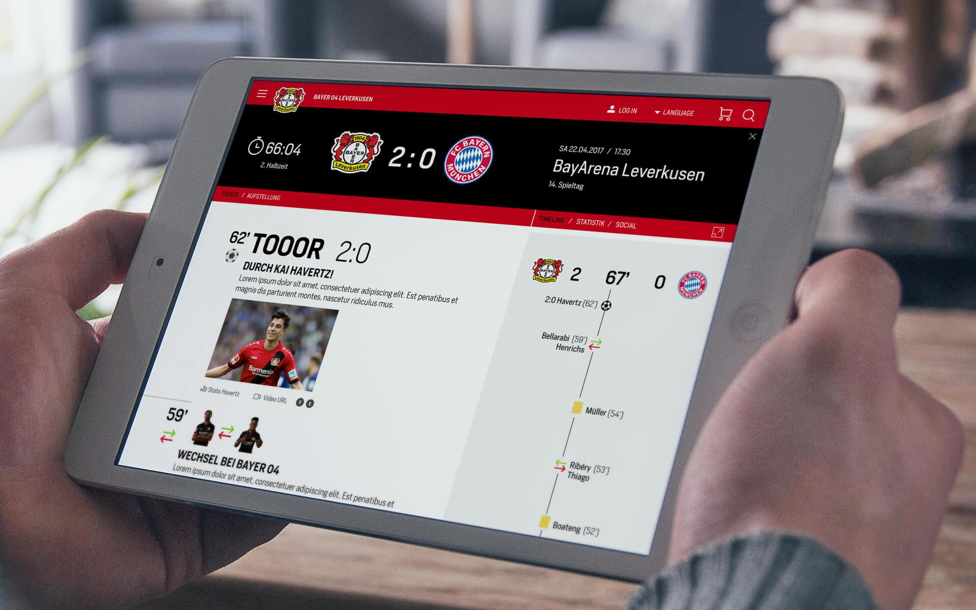 Bayer 04 Website Relaunch, responsives Redesign, Liveticker, Webdesign, UX, UI, Tablet View