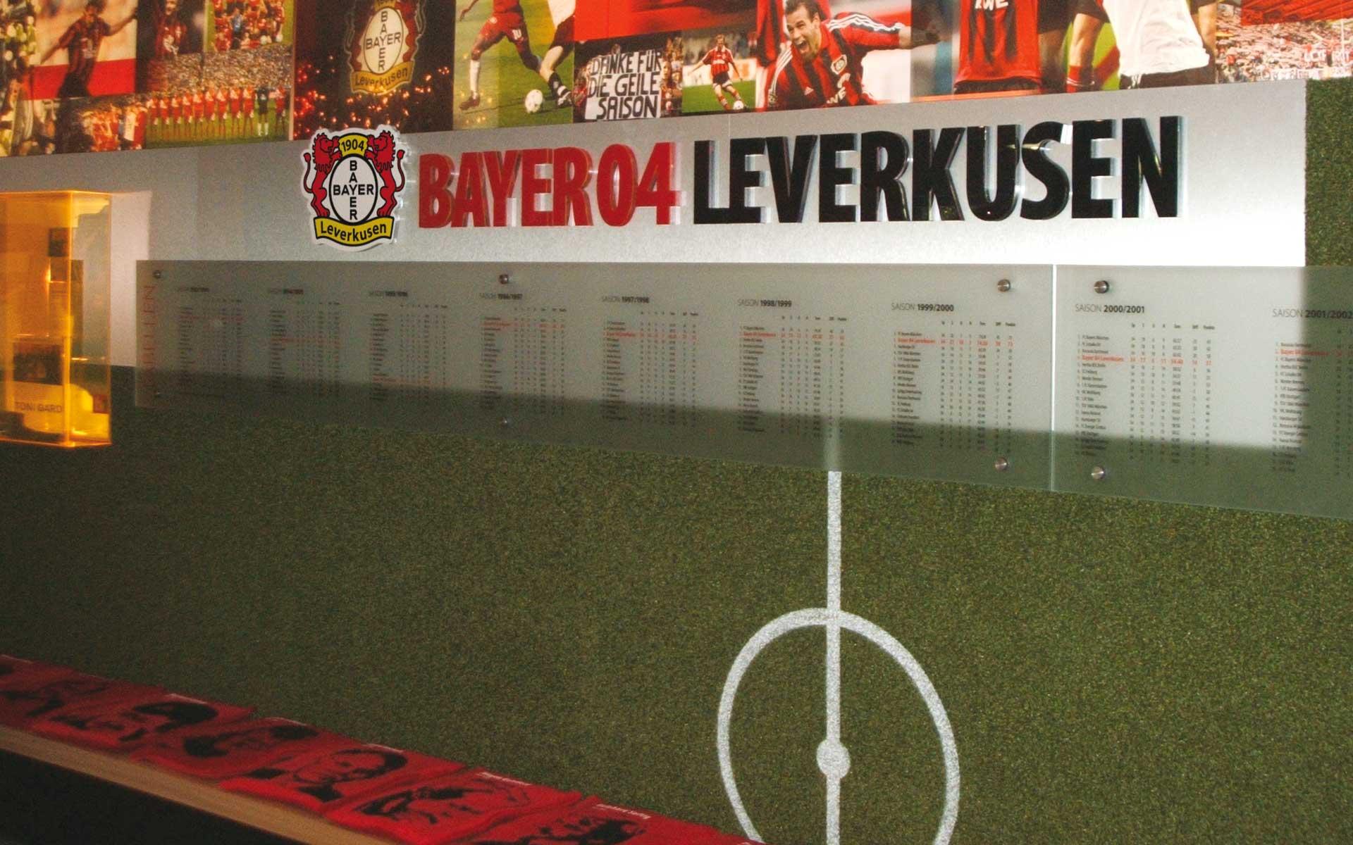 Bayer 04 Foyer BayArena, Brand Space, Tabellen