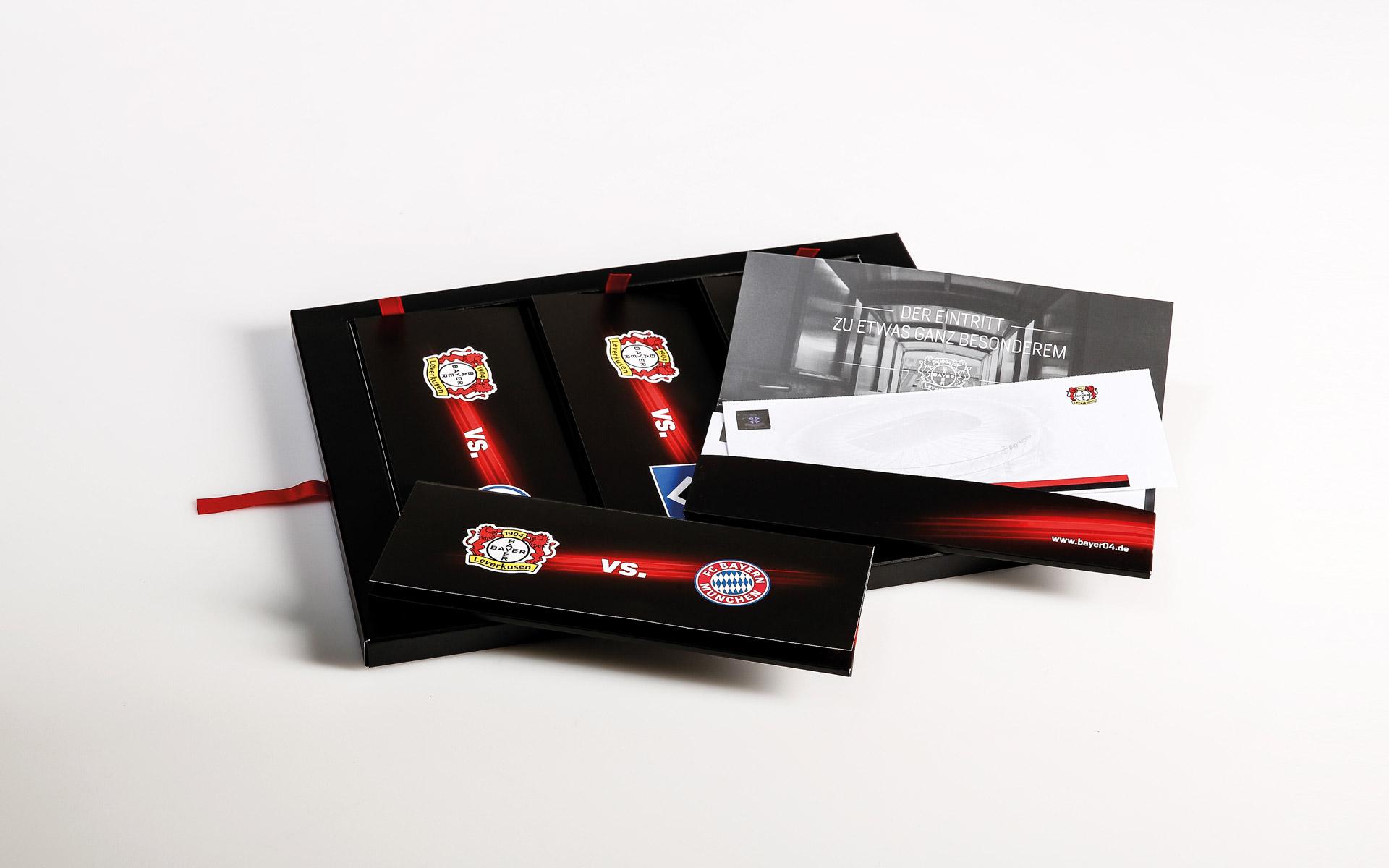 Bayer 04 VIP-Ticketbox, verschiedene Elemente der Box