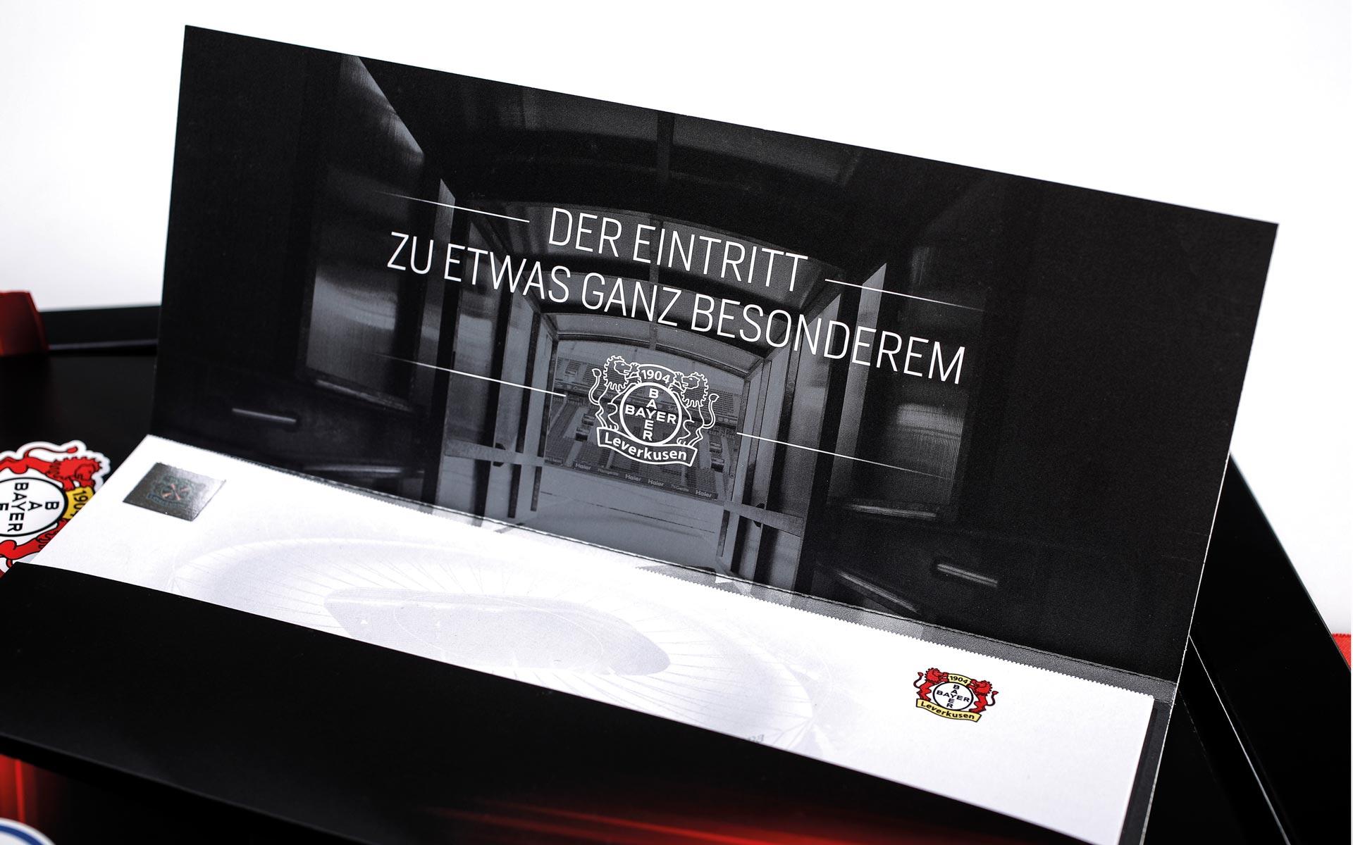 Bayer 04 VIP-Ticketbox, Tickethülle, geöffnet