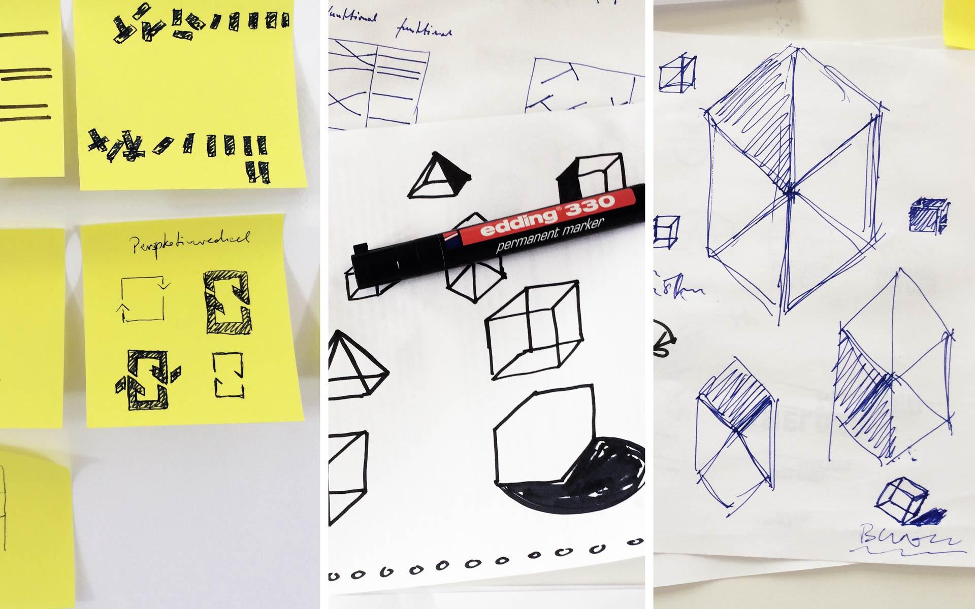 Blawath & Nachtsheim Corporate Design, Ideenfindung, Skizzen
