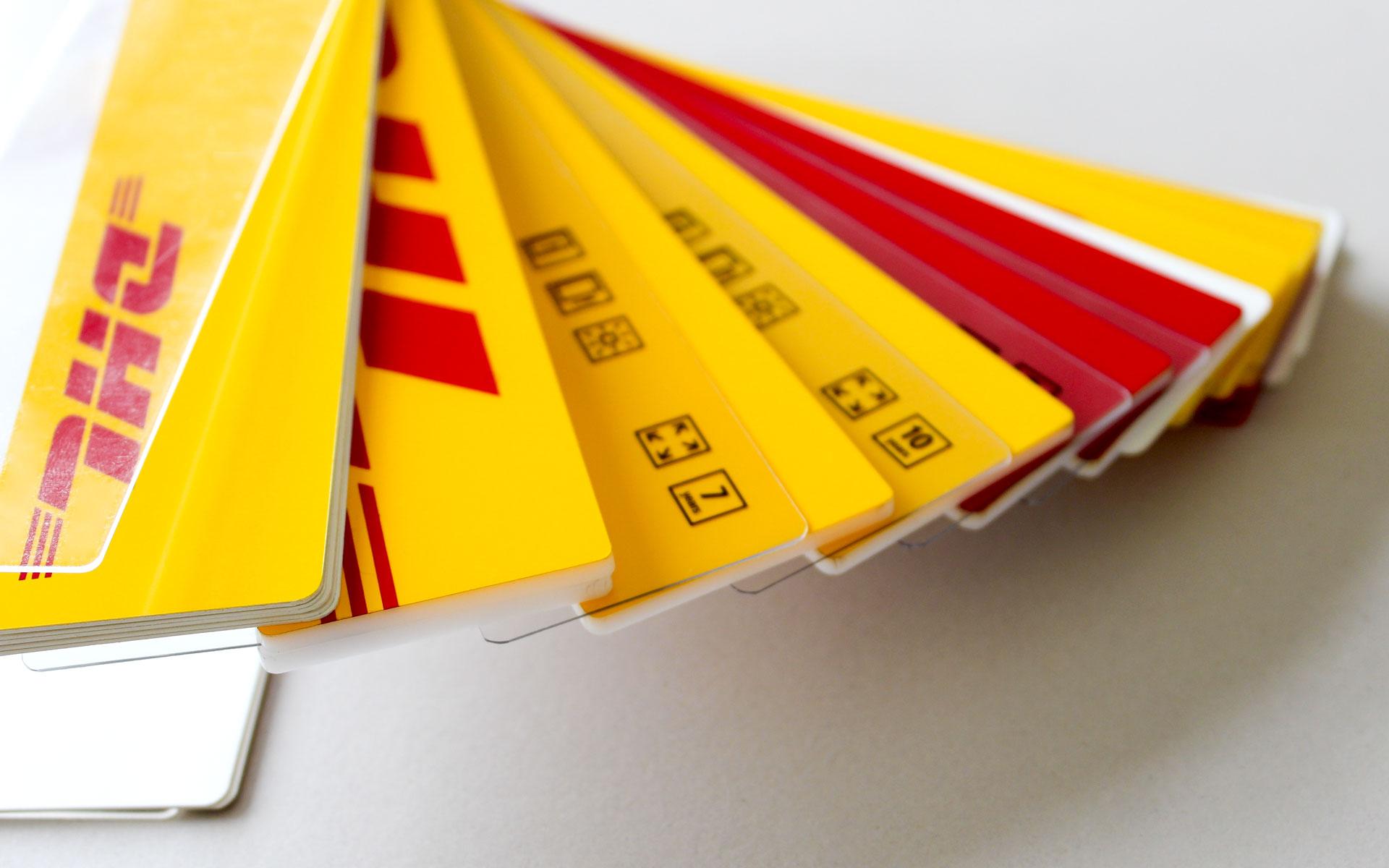 Deutsche Post AG / DHL Corporate Design, Farb- und Folienfächer für die Farbbstandardisierung, Corporate Colours