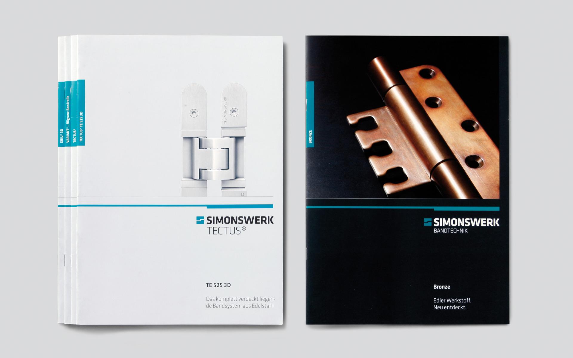 Simonswerk Broschürenwesen, Corporate Design, Produktbroschüren Titel