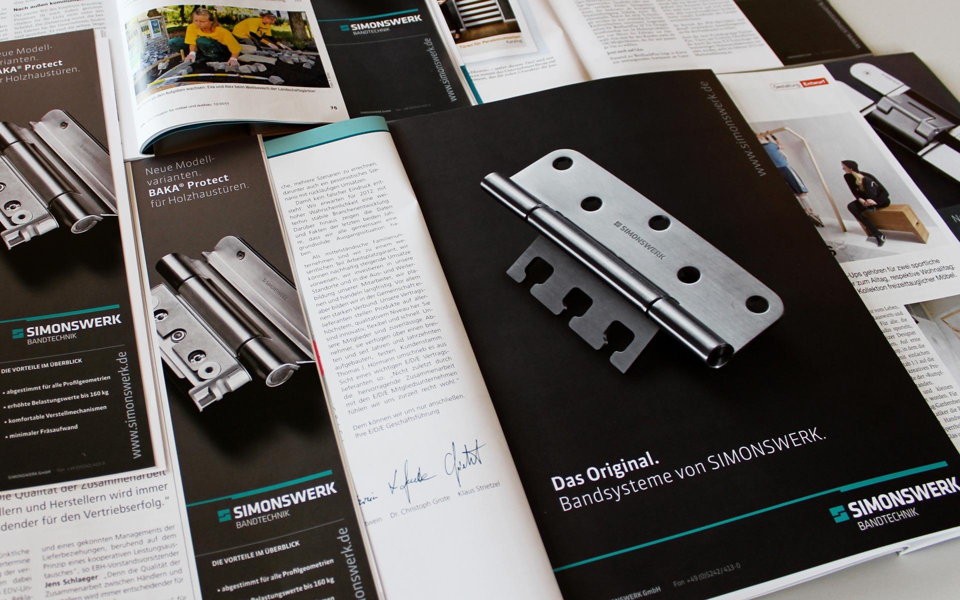 Simonswerk Corporate Design, Anzeigengestaltung