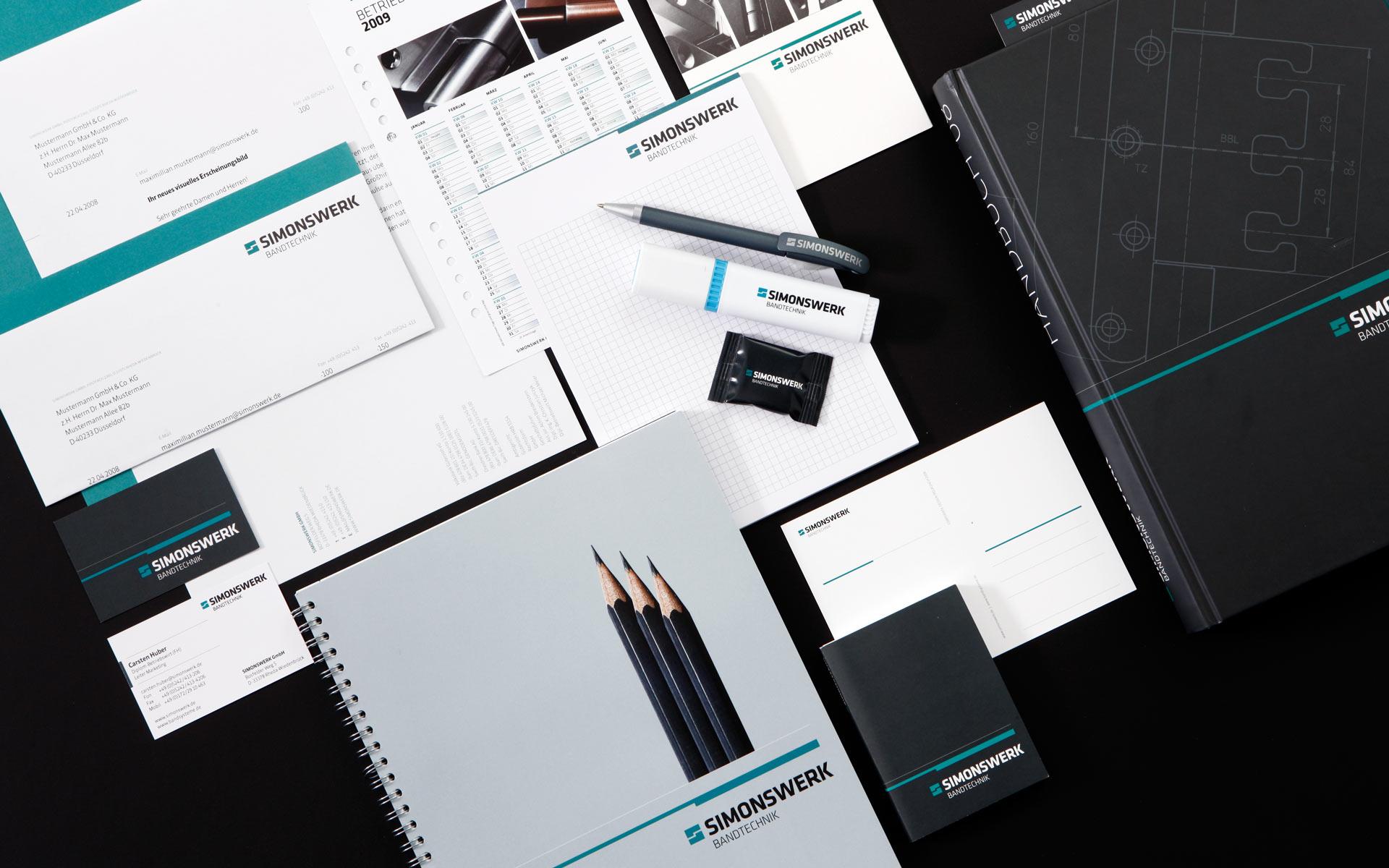 Simonswerk Corporate Design, Übersicht der Geschäftsausstattung