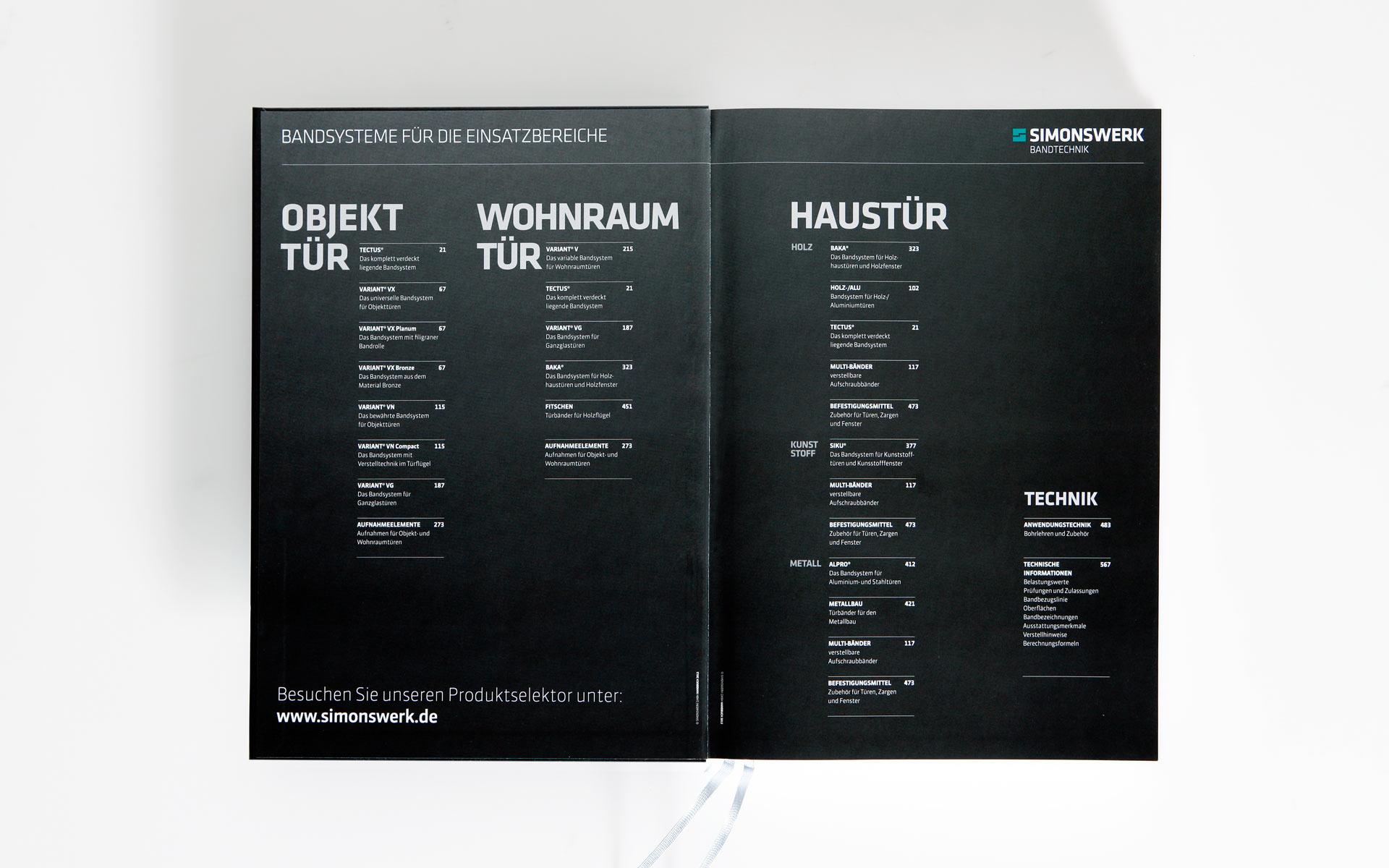 Simonswerk Kompendium 2012, Handbuch, Doppelseite, Index der Einsatzbereiche