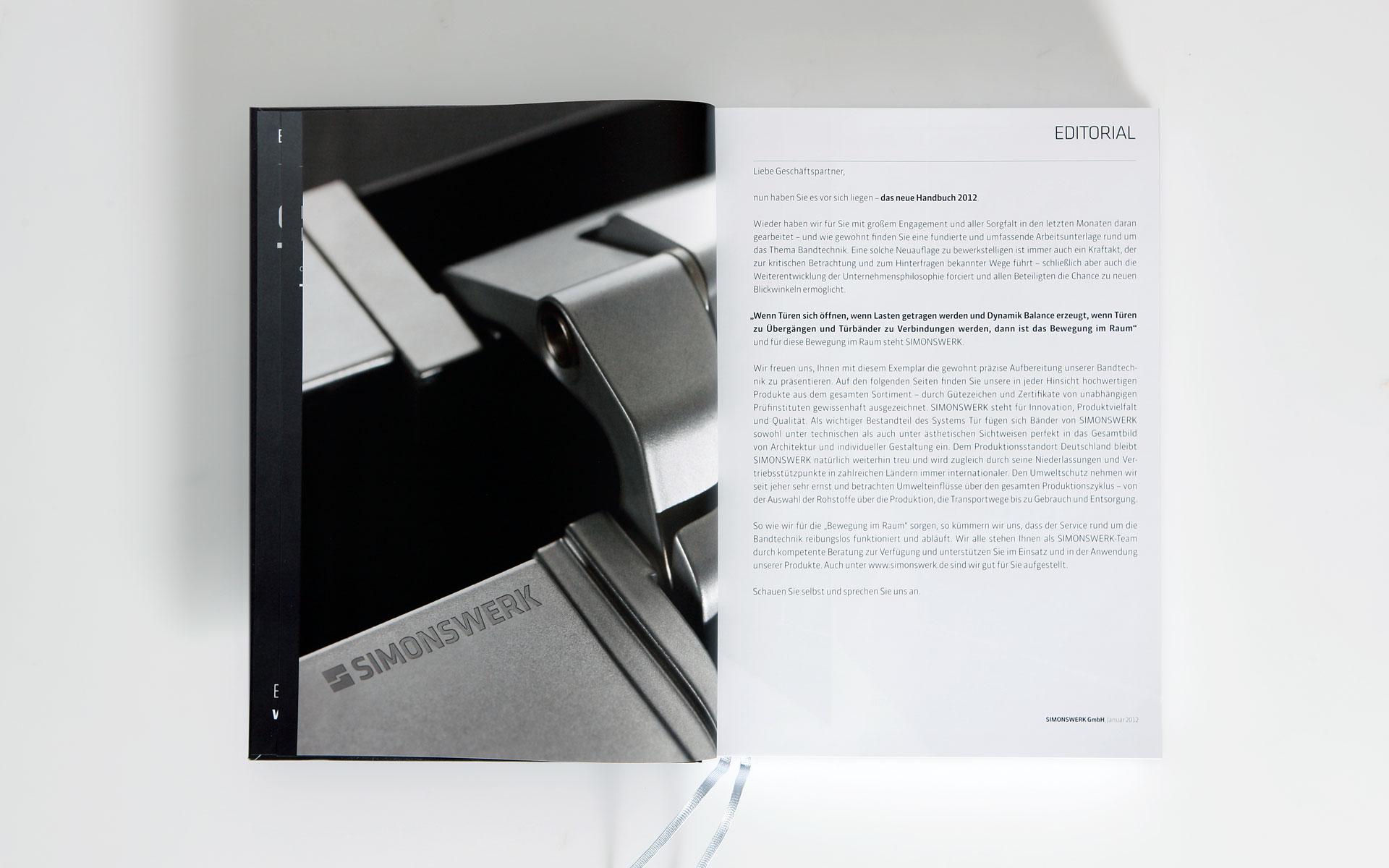 Simonswerk Kompendium 2012, Handbuch, Doppelseite, Editorial