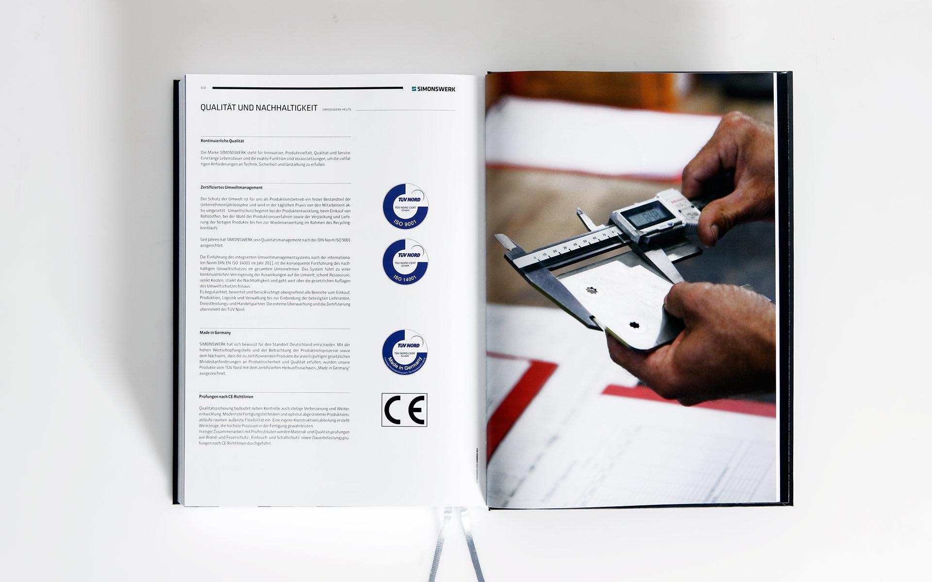 Simonswerk Kompendium 2012, Handbuch, Doppelseite, Qualitätssicherung