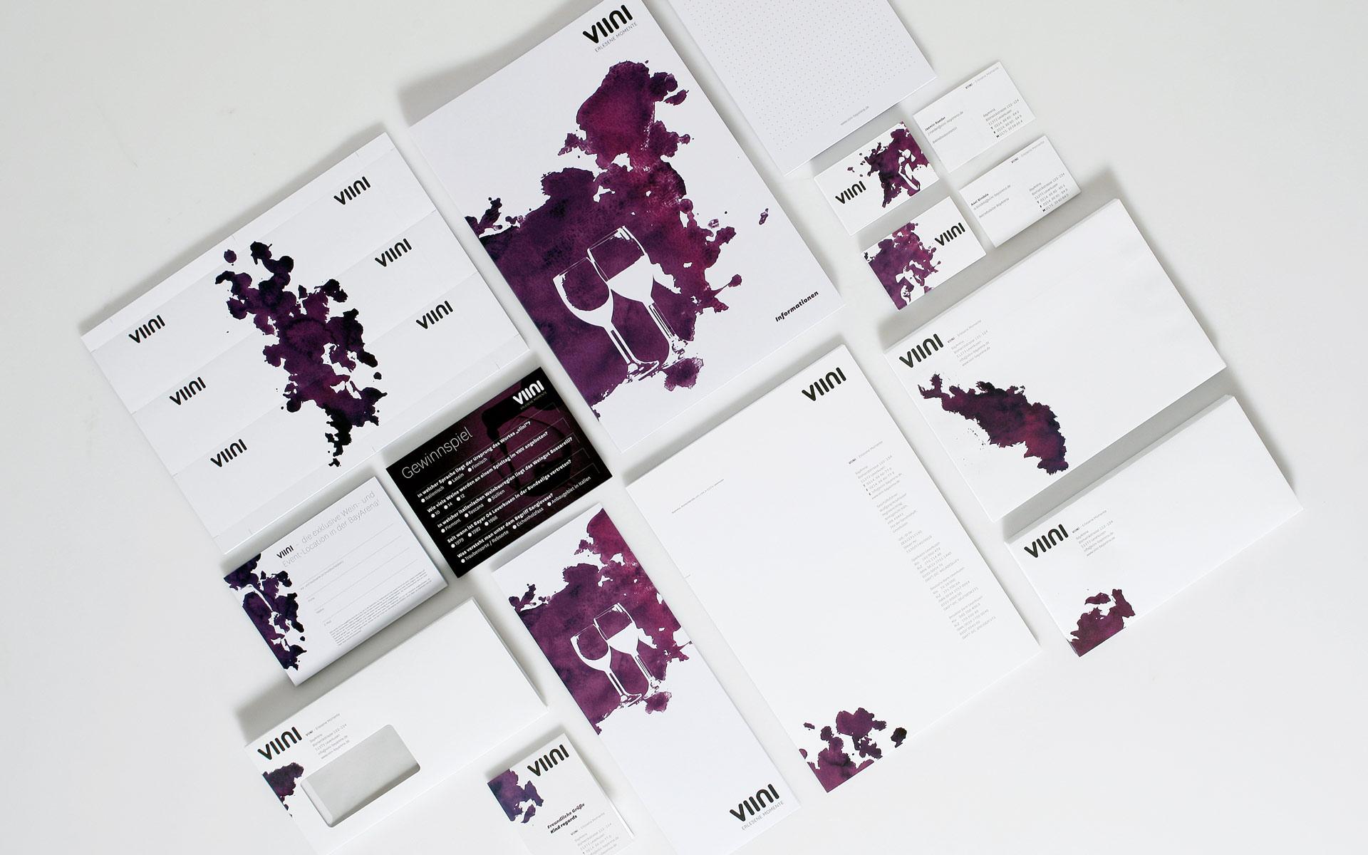 VIINI Brand Identity, Corporate Design, Geschäftsausstattung mit Briefbogen und Visitenkarten