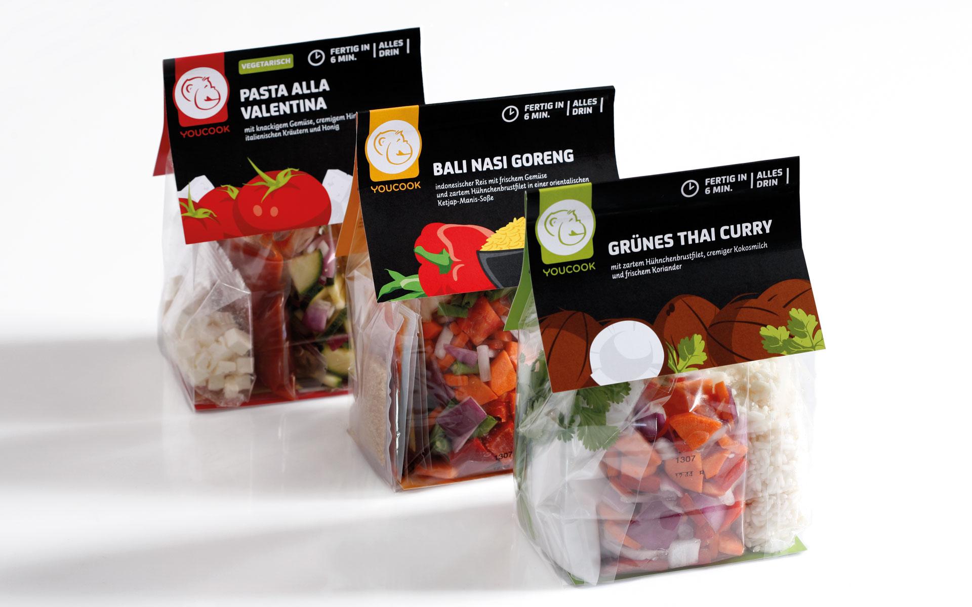 youcook Brand Identity, Packaging, Verpackungen, diverse Sorten