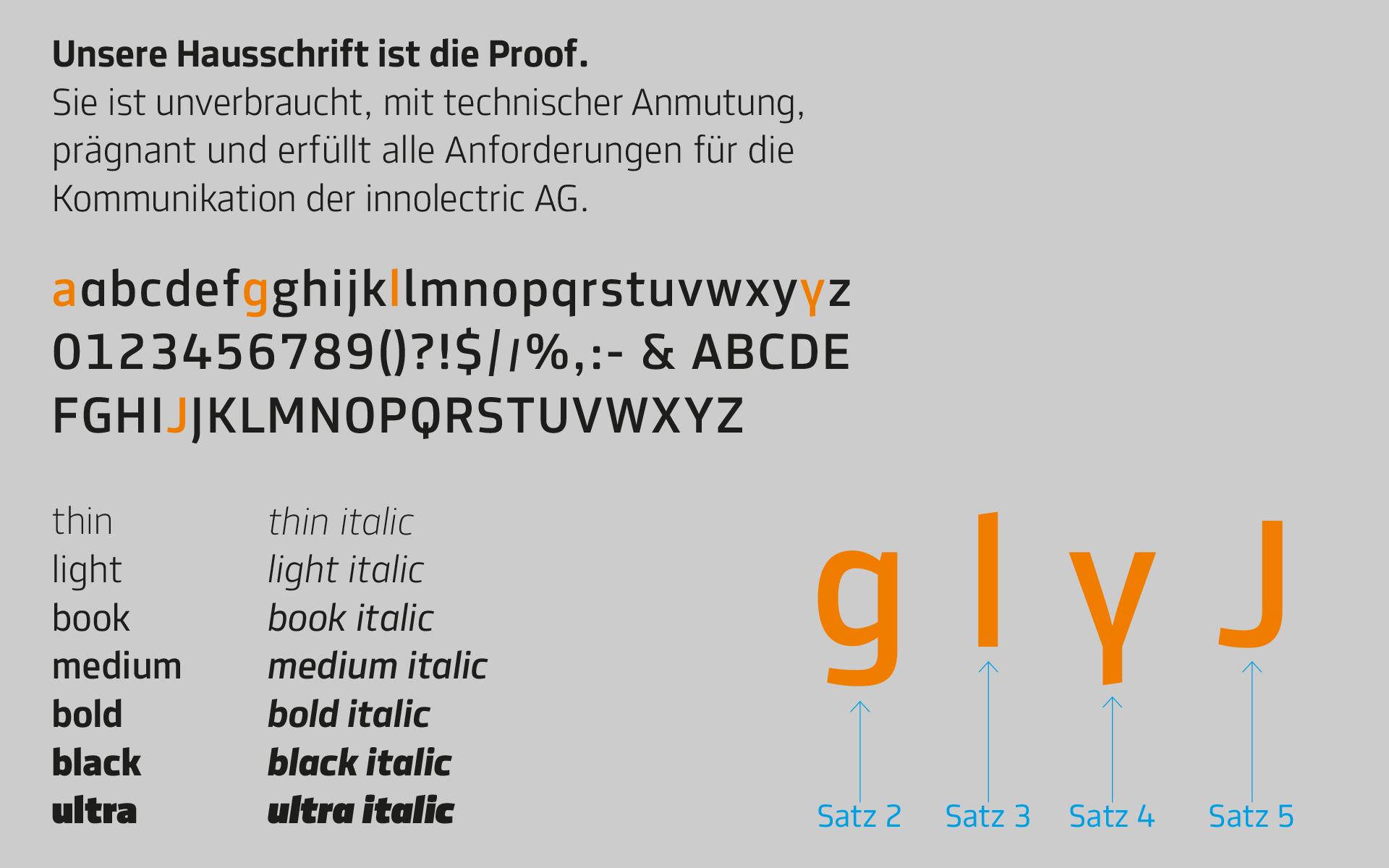 innolectric Corporate Design, Corporate Typeface, Typography