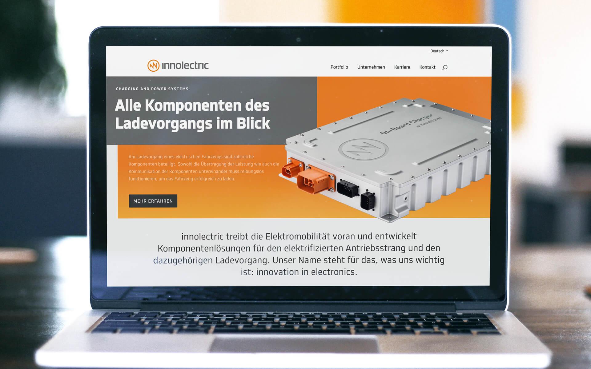 innolectric Corporate Design, Website, Startseite