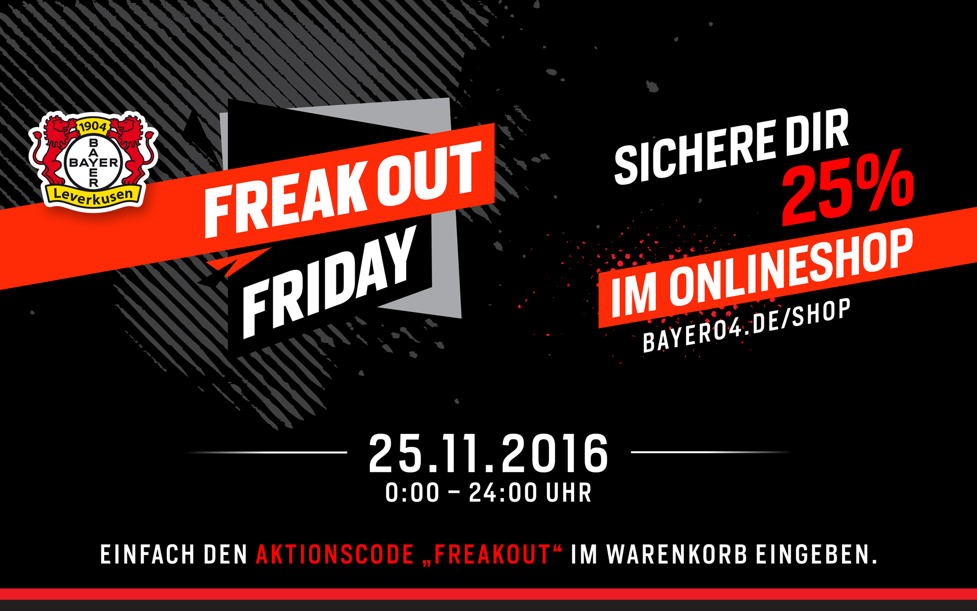 "Saleskampagne ""Freakout Friday"", Bayer 04 Leverkusen, Markenkommunikation, Corporate Design, Motiv"