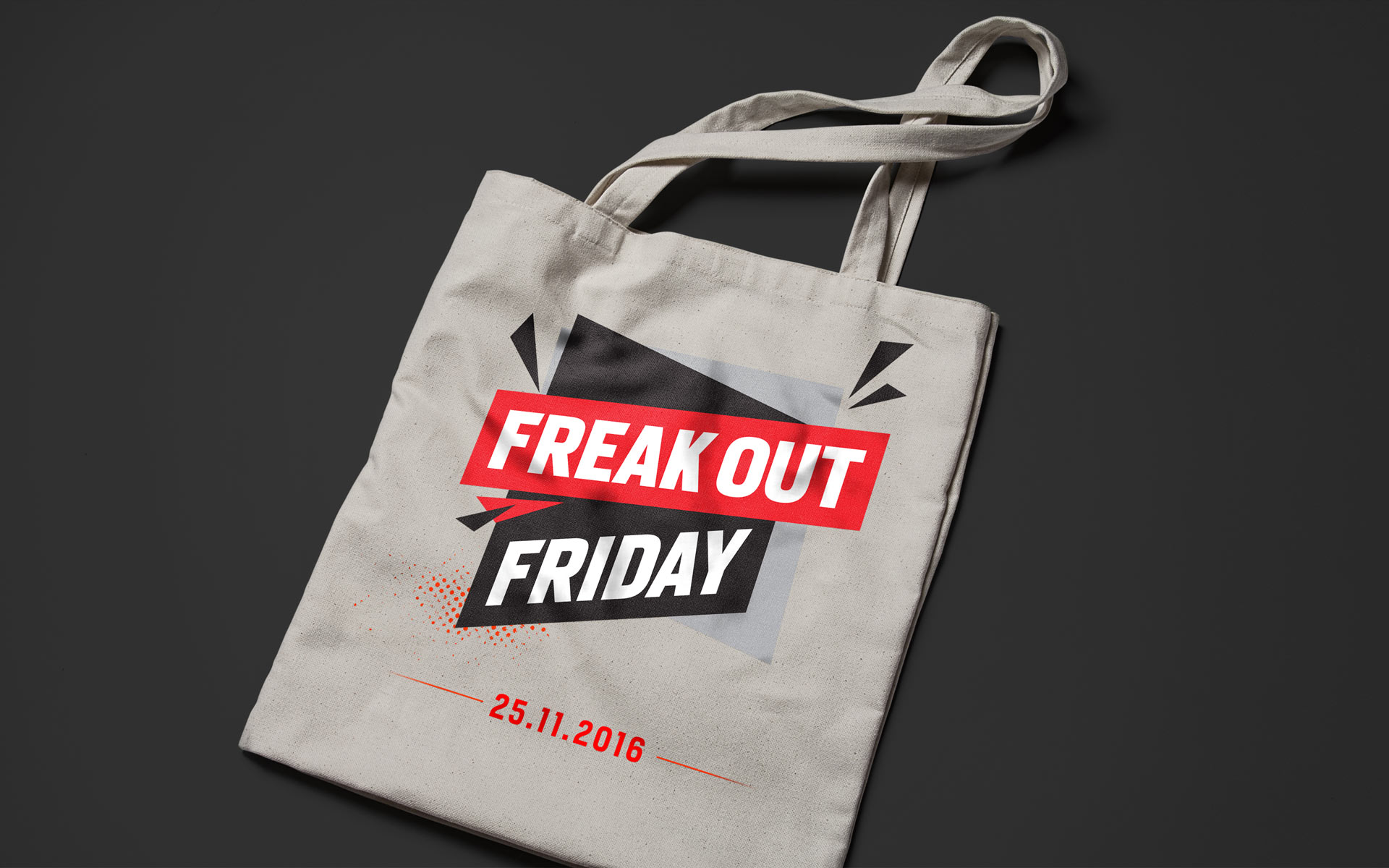 "Saleskampagne ""Freakout Friday"", Bayer 04 Leverkusen, Markenkommunikation, Corporate Design, Merchandising, Stofftasche"